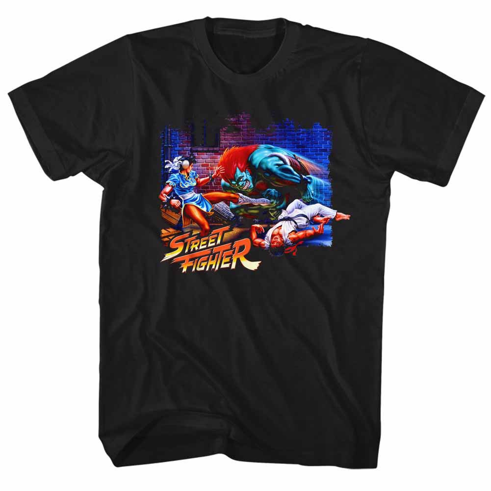 Street Fighter Alley Fight Black T-Shirt