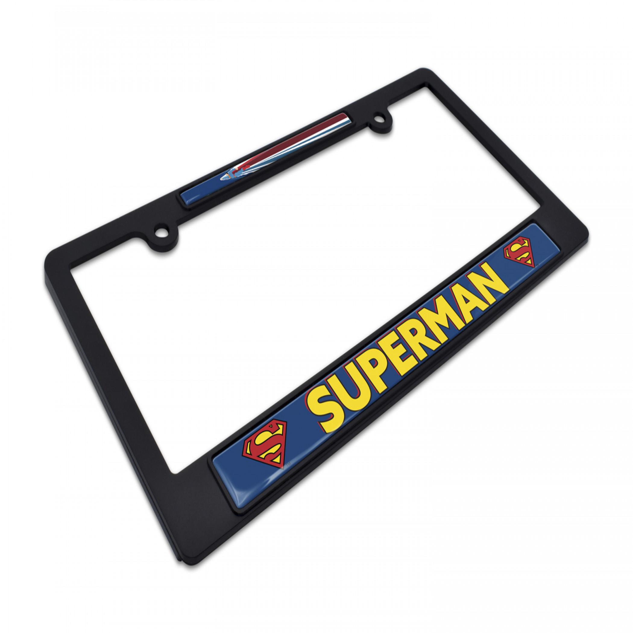 Superman Fly Black Plastic License Plate Frame by Elektroplate