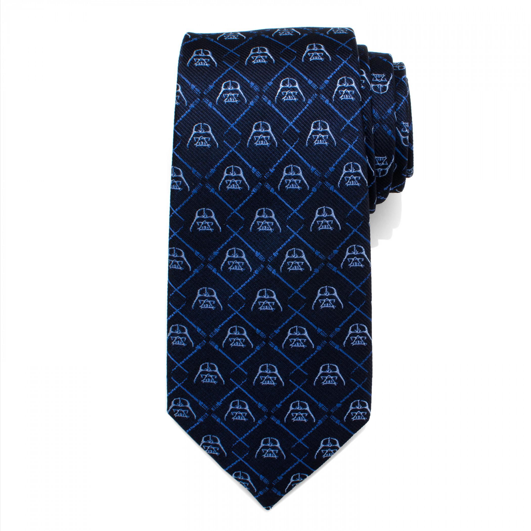 Star Wars Darth Vader Lightsaber Blue Silk Tie