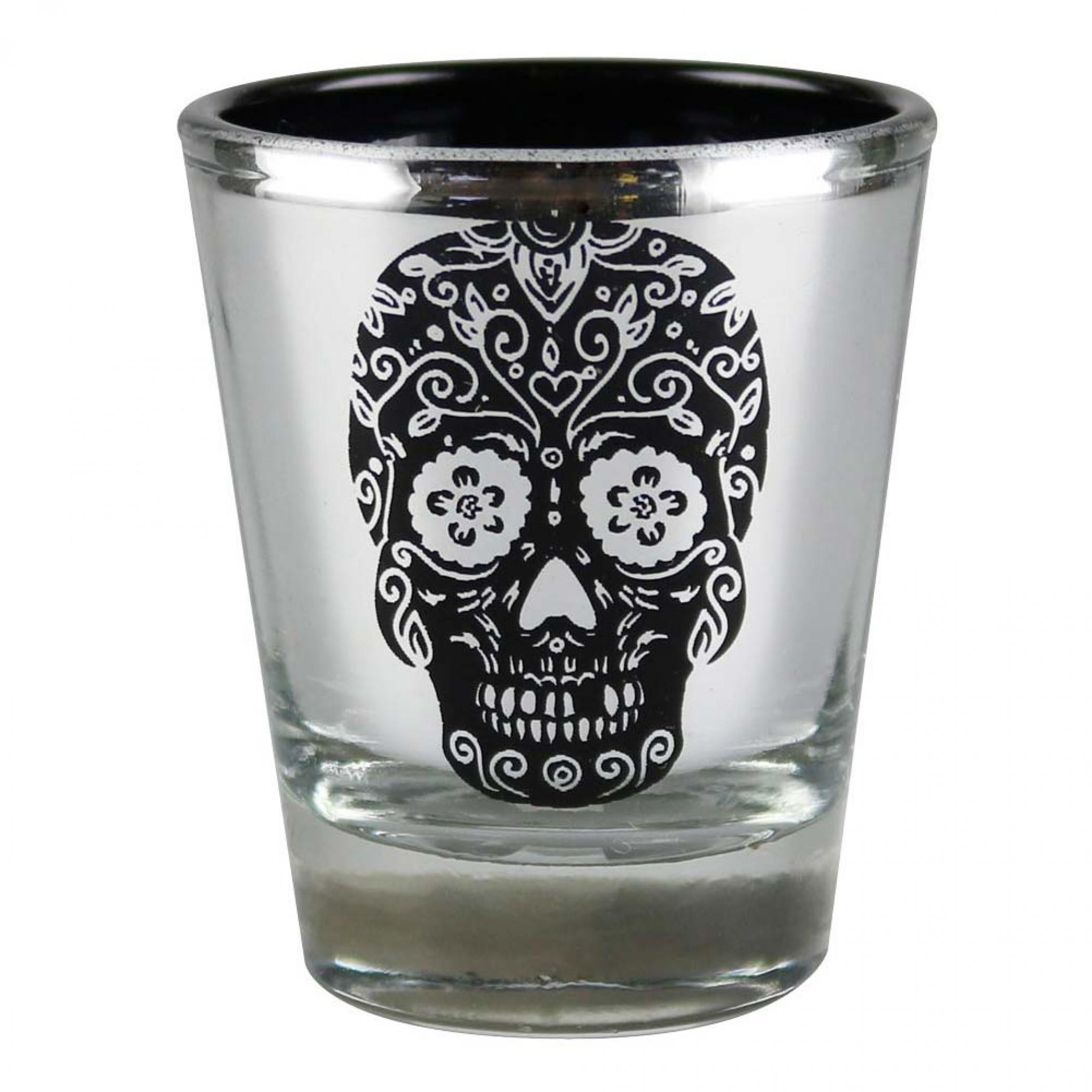 Day Of The Dead Metallic Skull Shot Glass