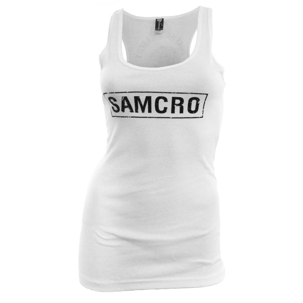 Sons of Anarchy Women's White SAMCRO Tank Top
