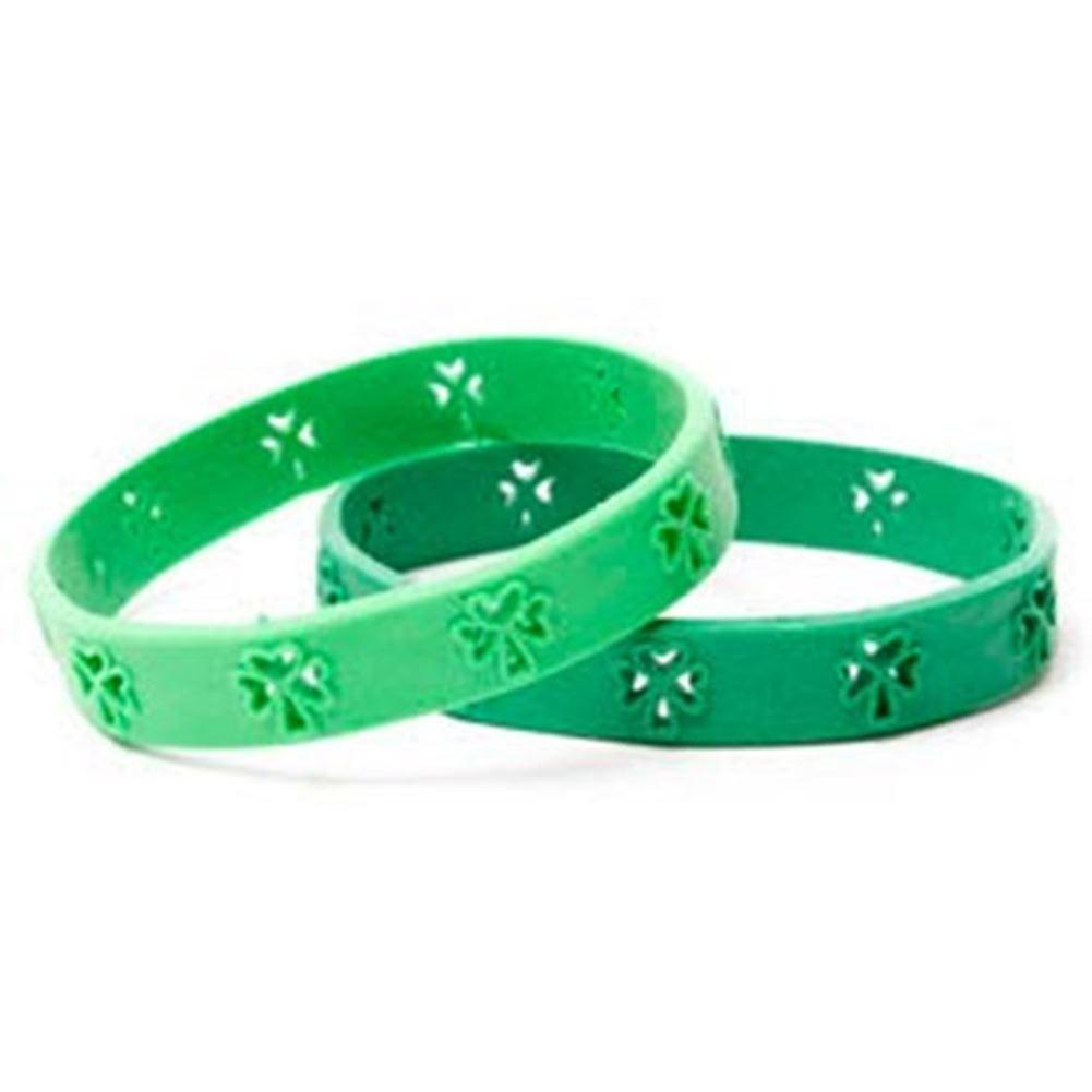 St. Patrick's Day Shamrock Green Rubber Wristband