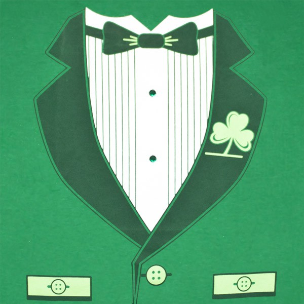 Irish Tuxedo St. Patrick's Day Novelty Graphic Green T-Shirt