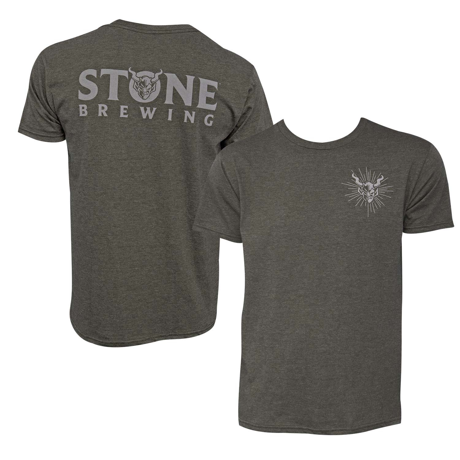 Stone Brewing Devil Logo Olive Green Men's TShirt