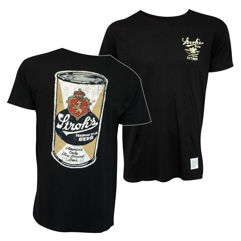 Stroh's Beer Can Retro Brand Men's Black T-Shirt