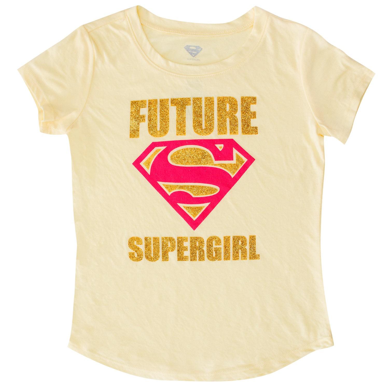 Superman Future Supergirl Youth Girls Yellow Tee Shirt