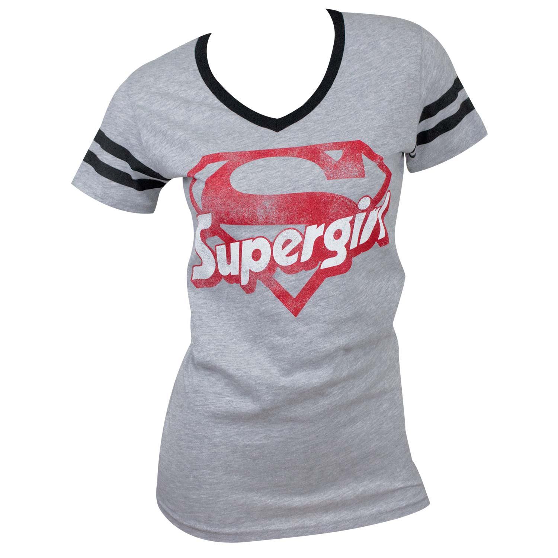 Supergirl Logo Varsity V-Neck Tee Shirt