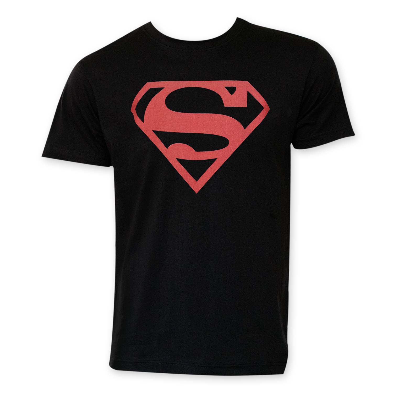 Superman Red Logo Black Tee Shirt