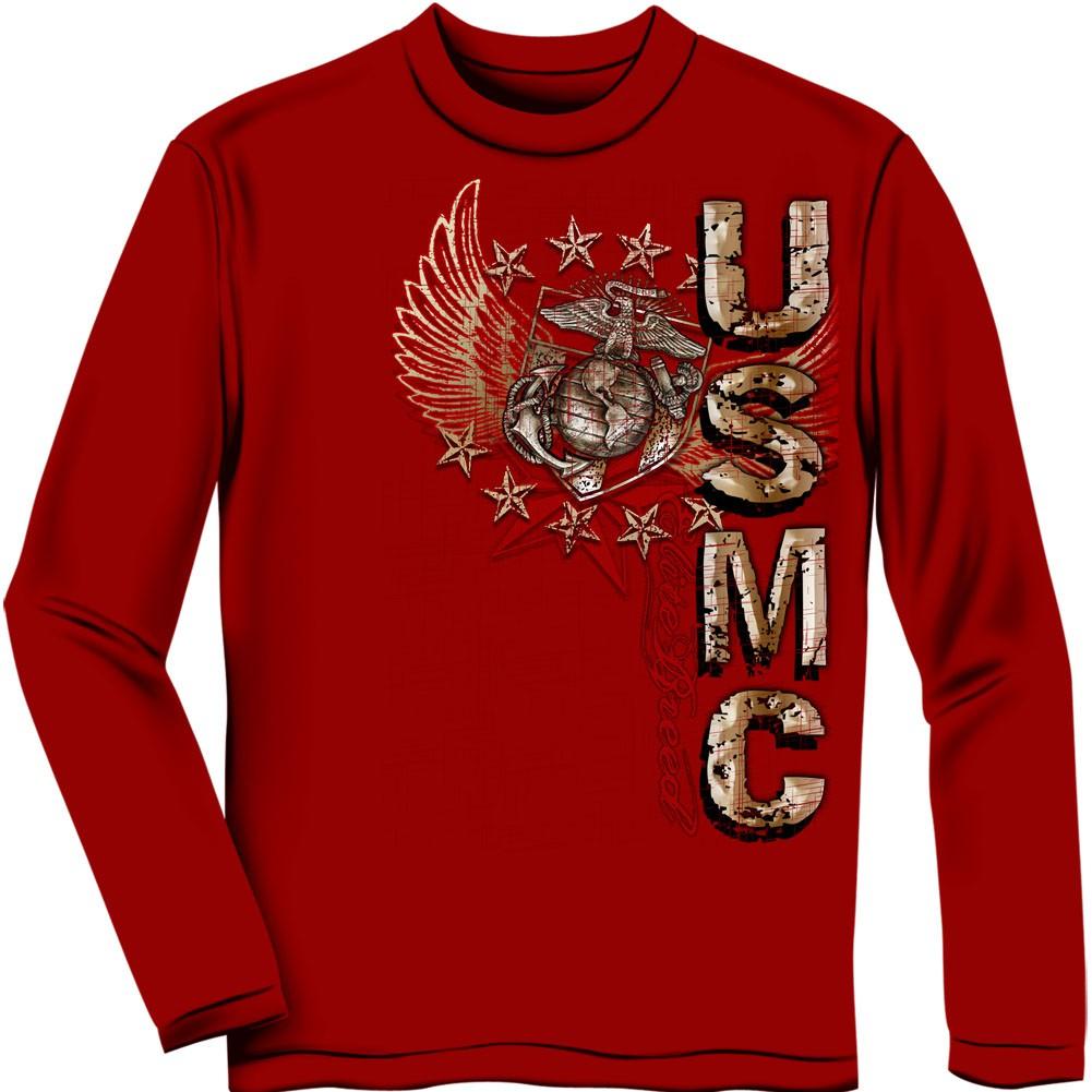 USMC Marines Pride Duty Honor Red Long Sleeve T-Shirt
