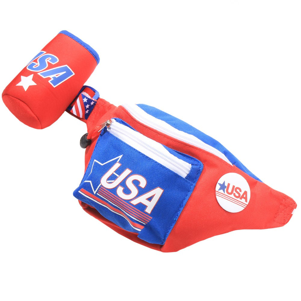 USA Vintage Fanny Pack With Can Cooler Red