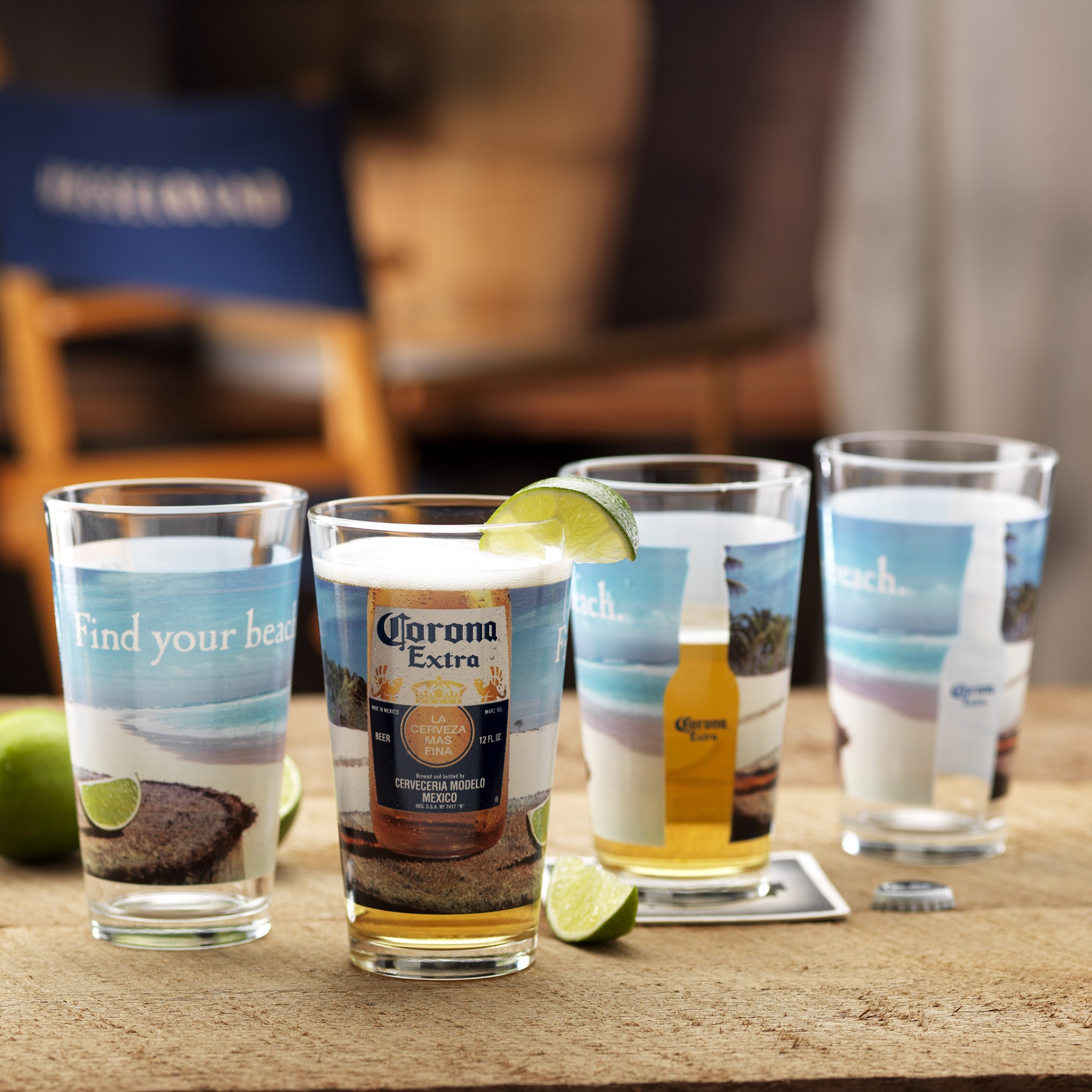 Corona Extra Find Your Beach 4-Pack Pint Glass Set