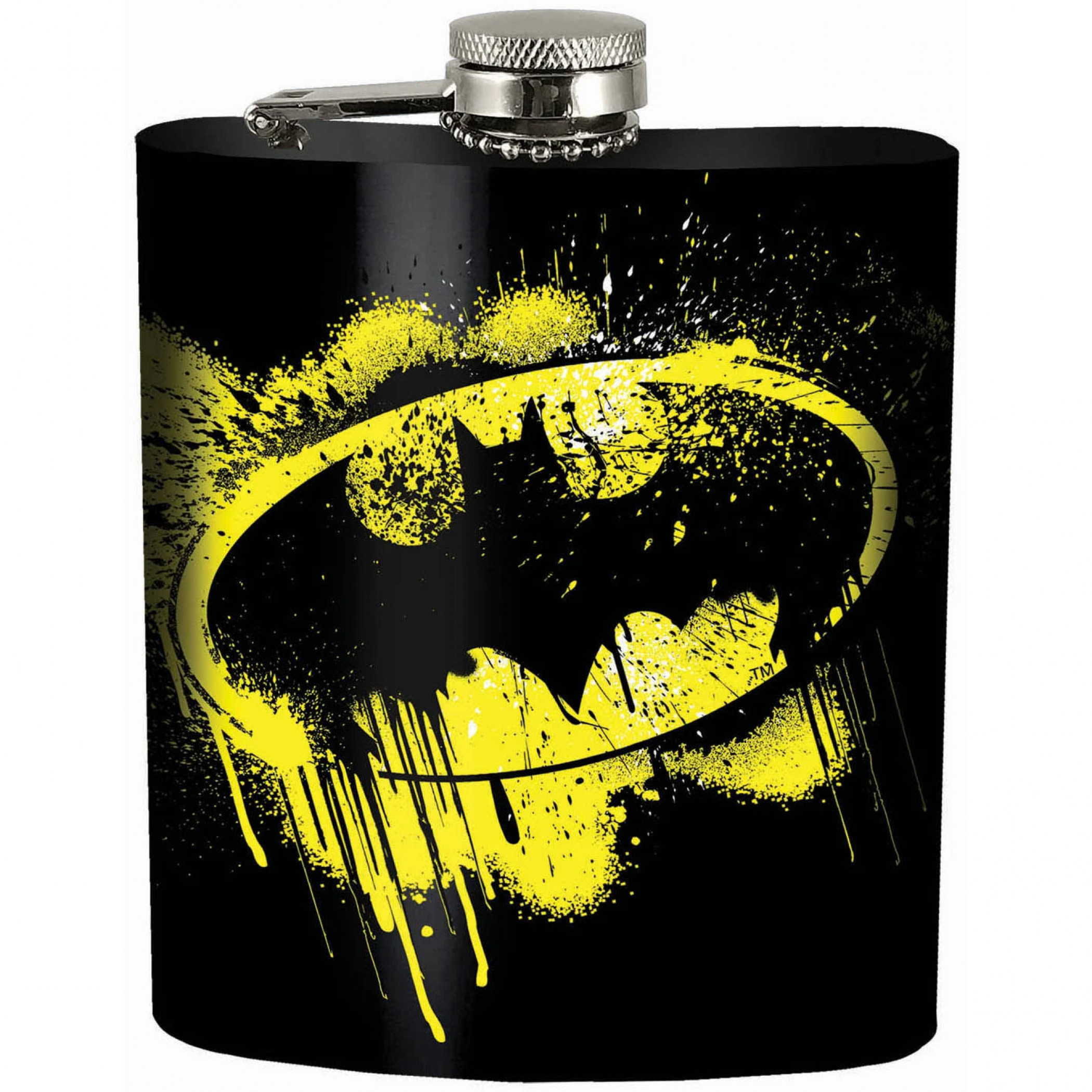 Batman Splatter Symbol Black Flask