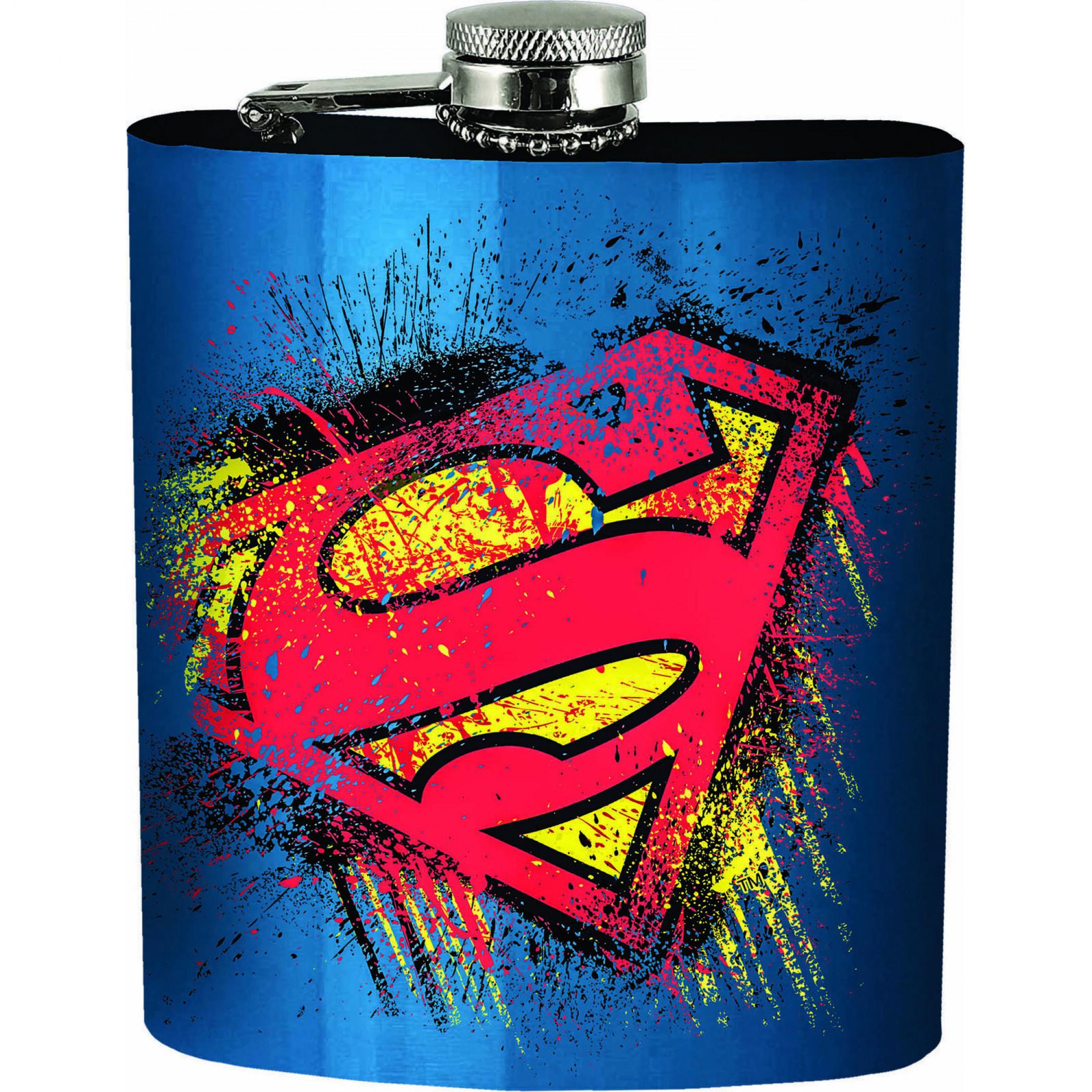 Superman Splatter Symbol Blue Flask