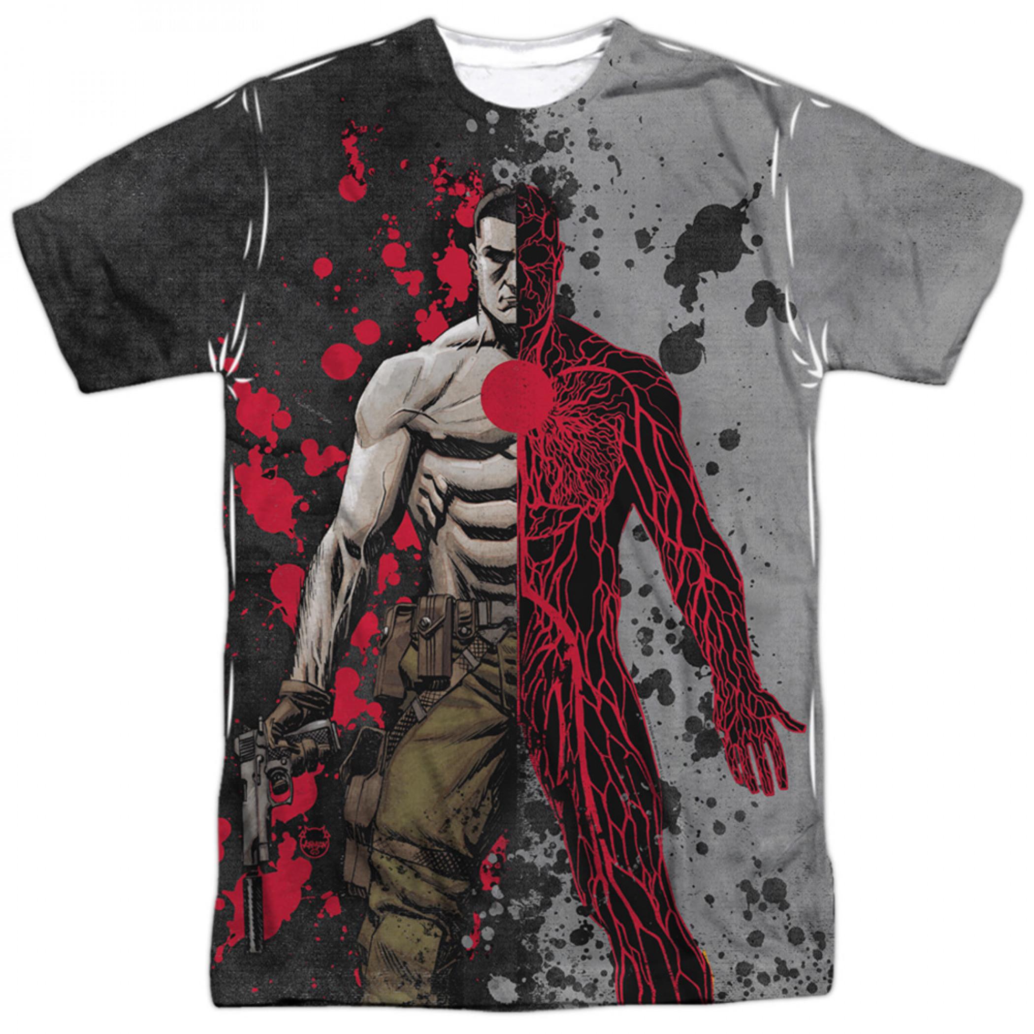 Bloodshot Split Veins Front and Back Print T-Shirt