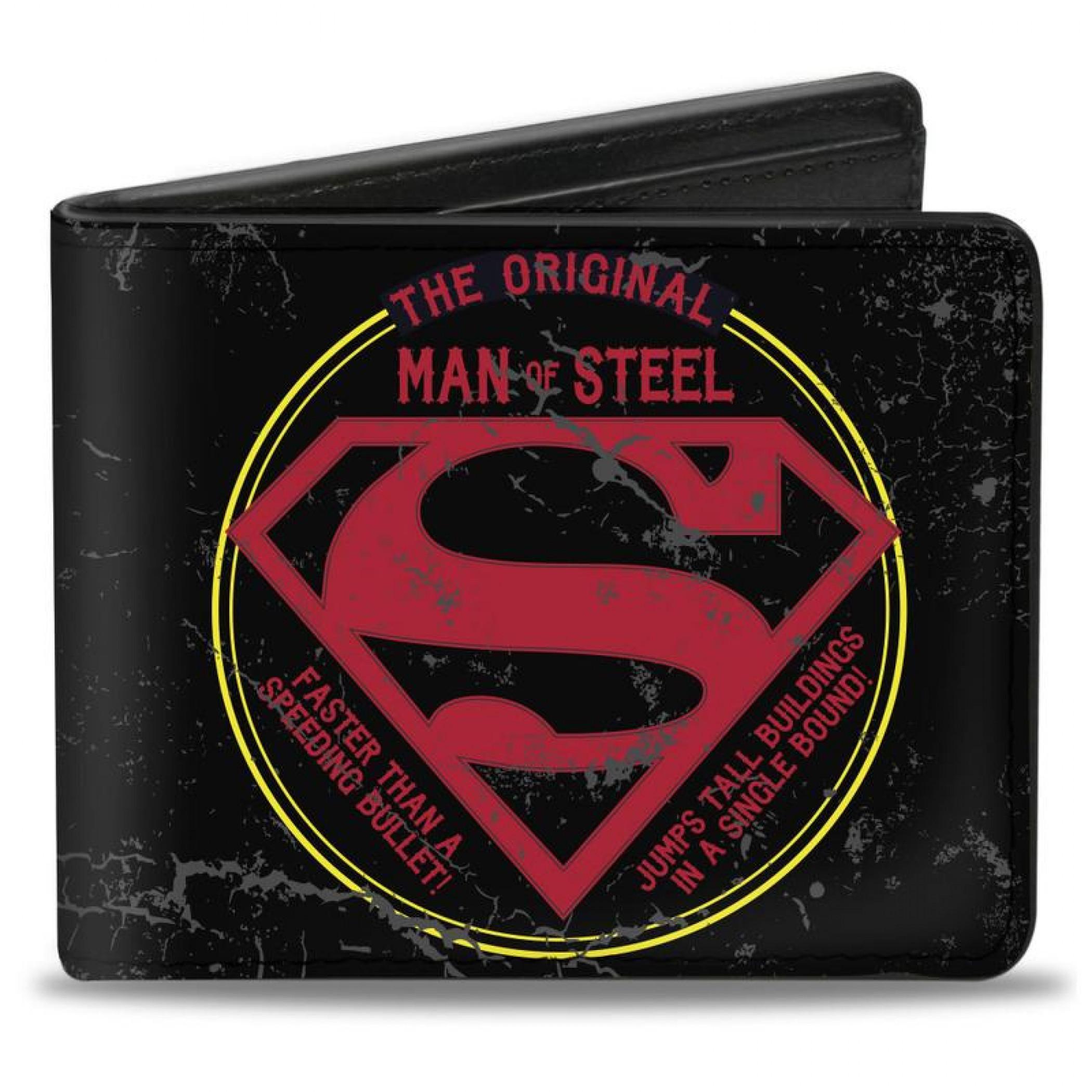 Superman DC Comics The Original Man of Steel Badge Bi Fold Wallet