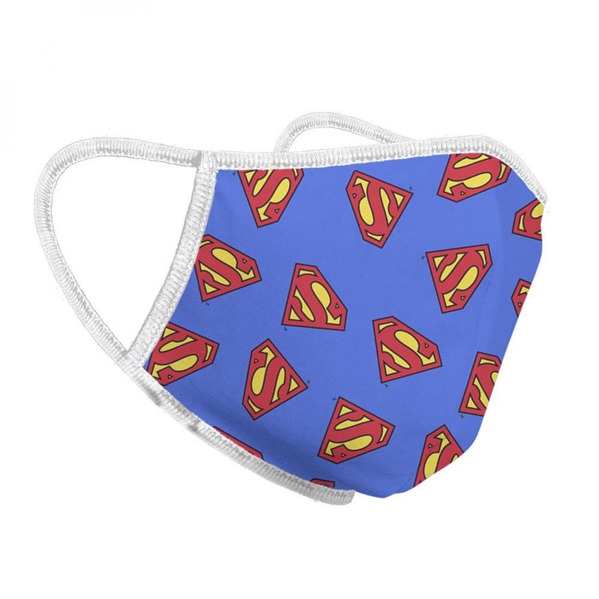 Superman Symbols All Over Print Face Mask