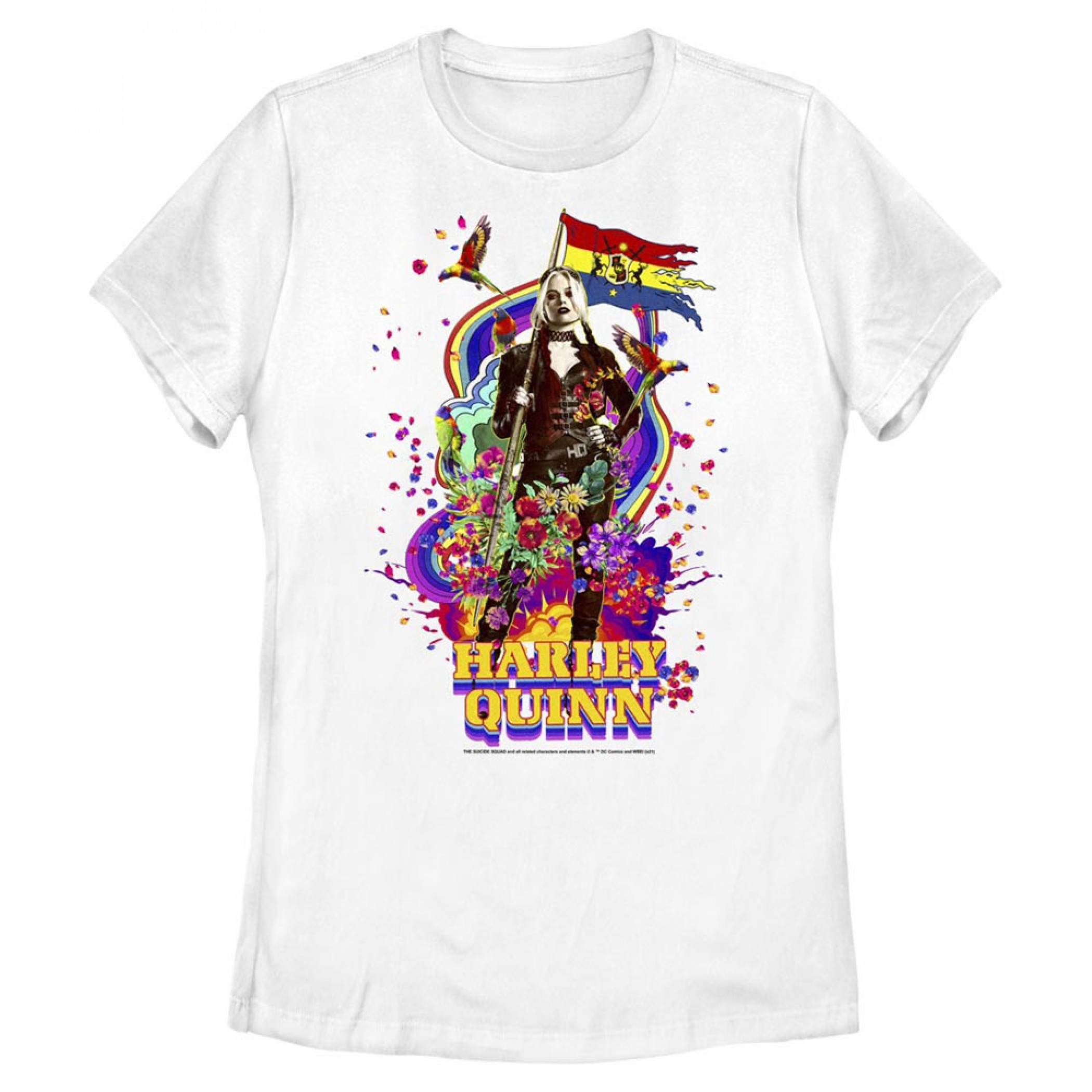 The Suicide Squad Harley Quinn Flag & Flowers Juniors T-Shirt