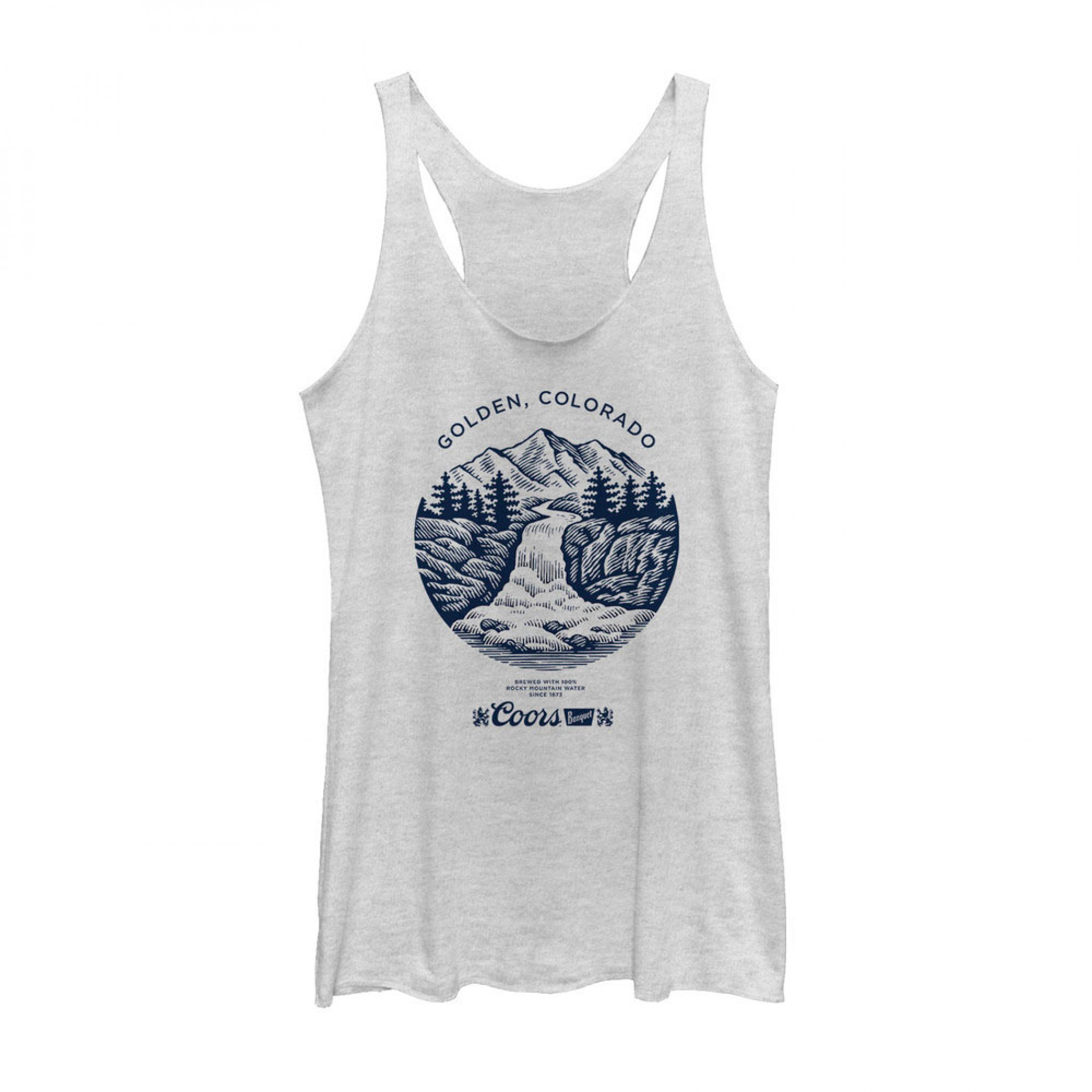Coors Banquet Beer Waterfall Logo Women's Grey Tank Top