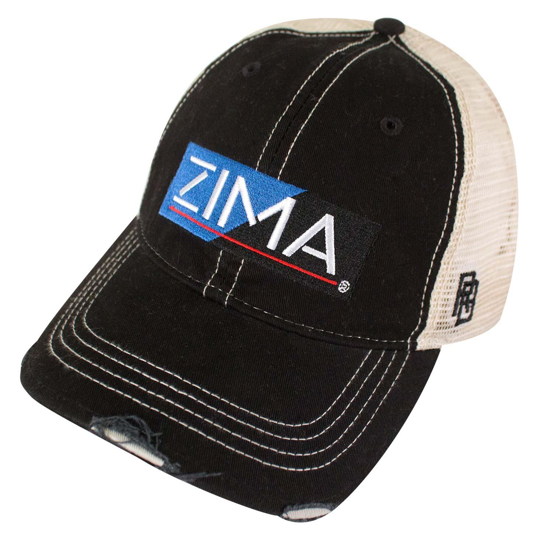 Zima Logo Retro Brand Mesh Black Trucker Hat