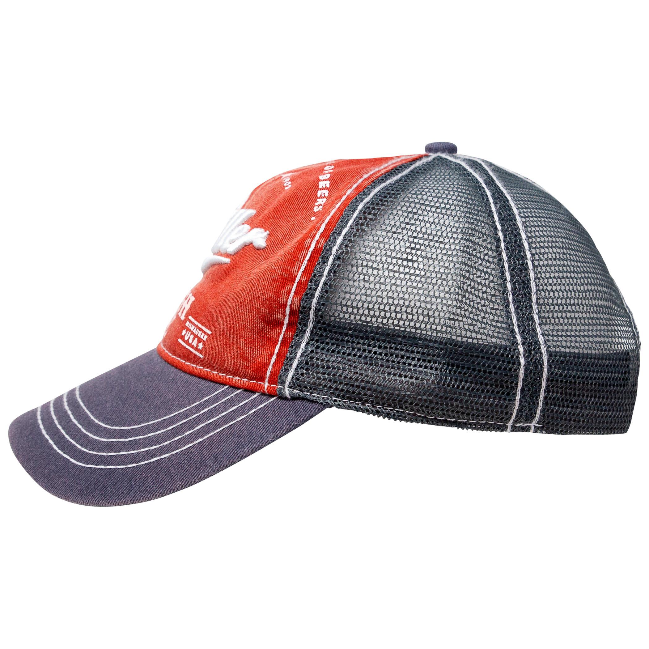 Miller High Life Beer Black And Red Adjustable Trucker Hat