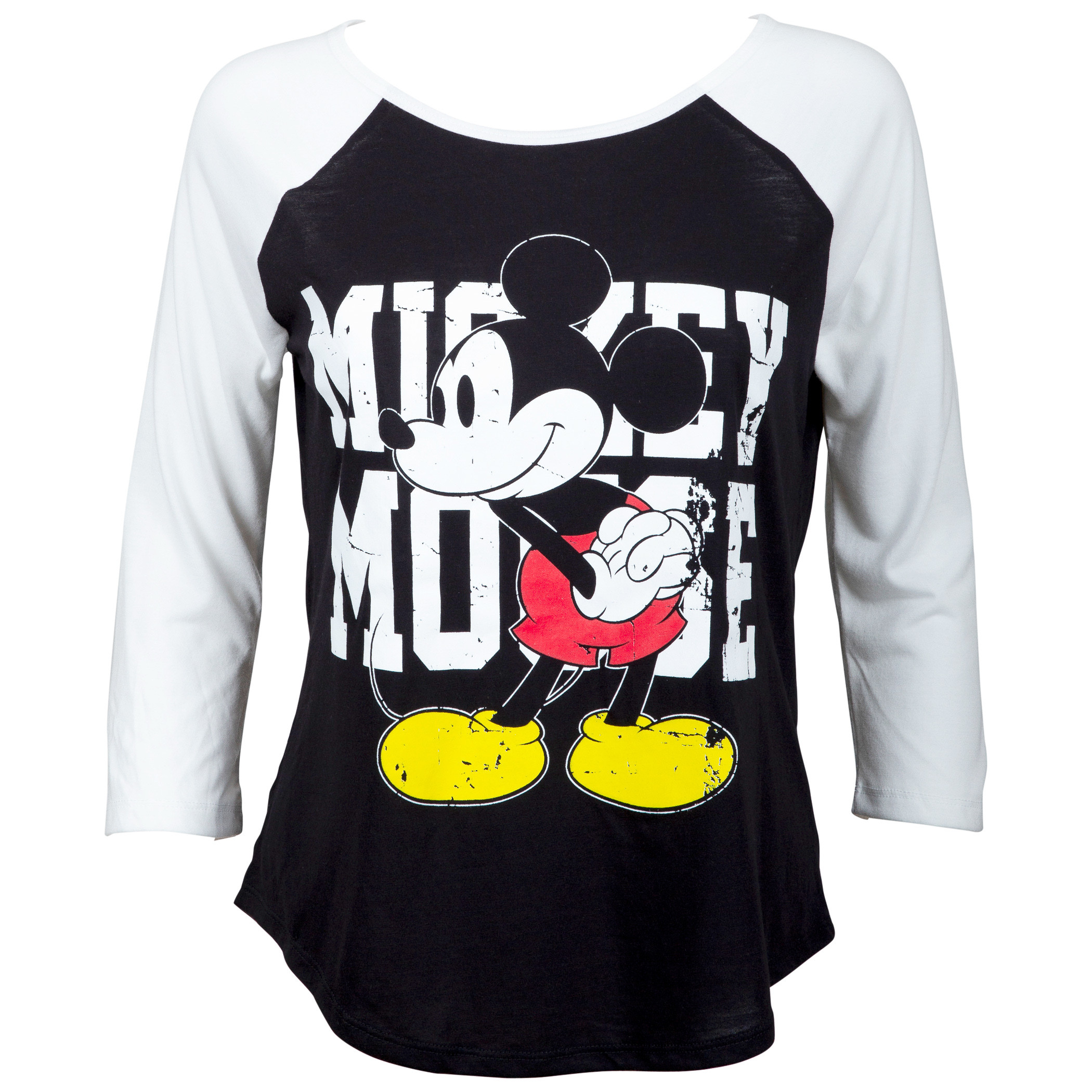 Mickey Mouse Women's Black Baseball T-Shirt
