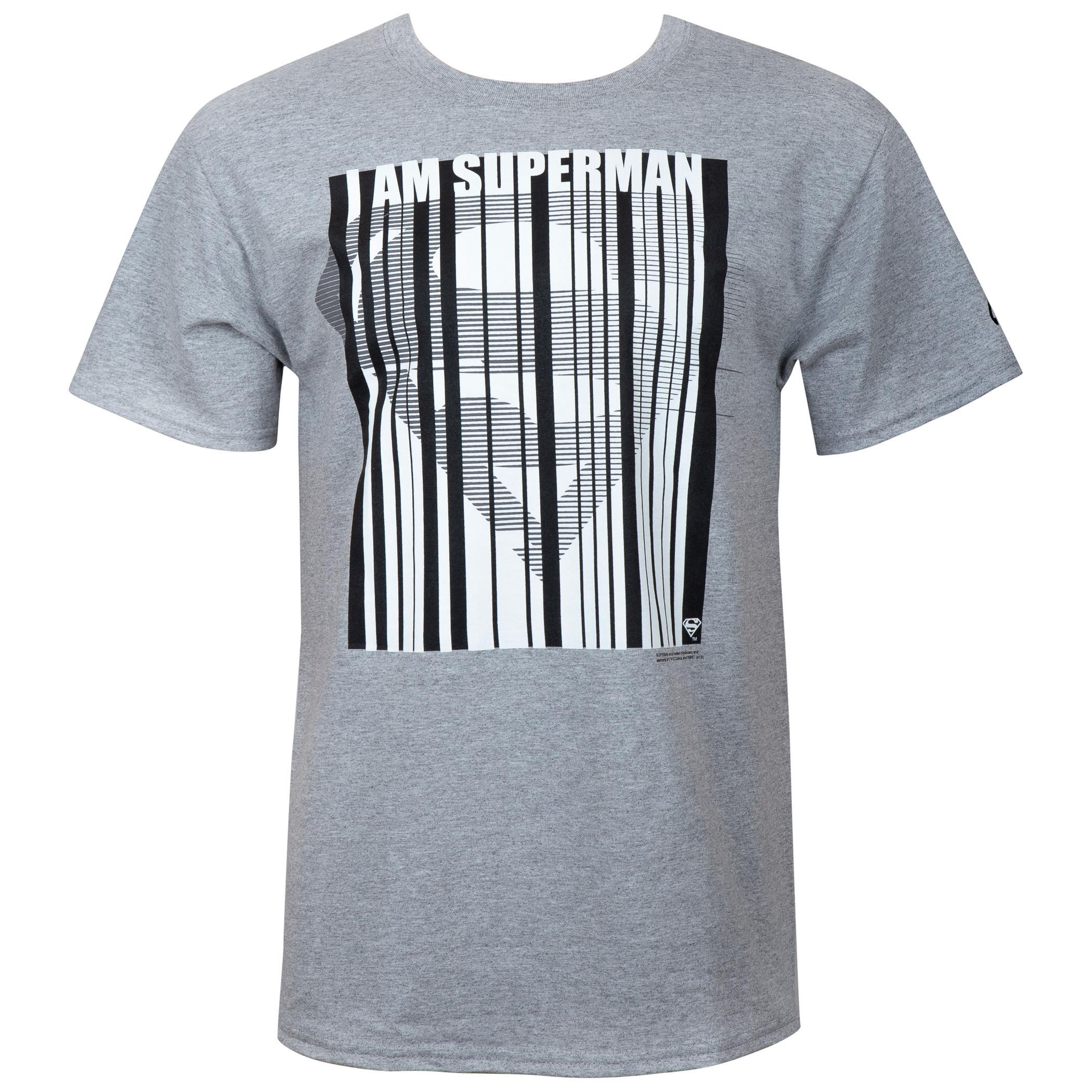 Superman Barcode Men's Grey T-Shirt
