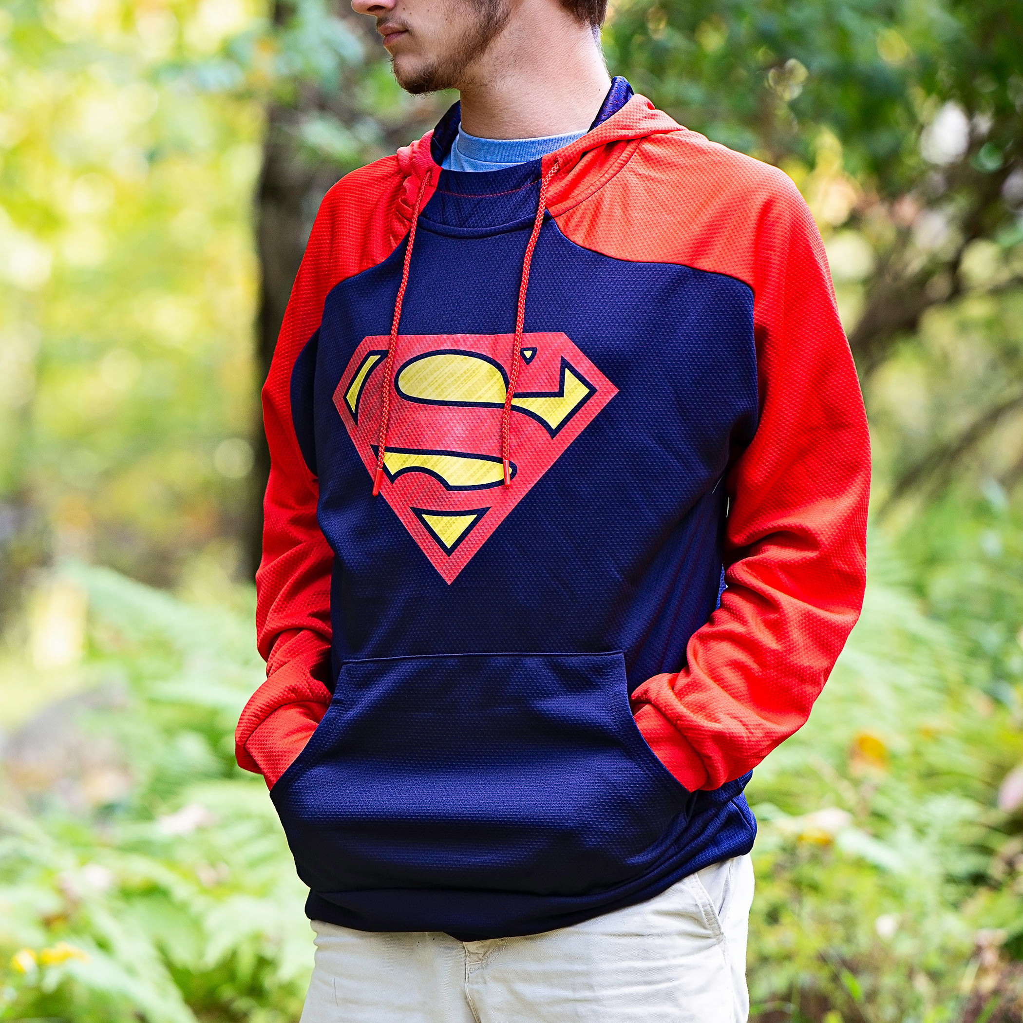 Superman Symbol Blue and Red Athletic Men's Hooded Sweatshirt
