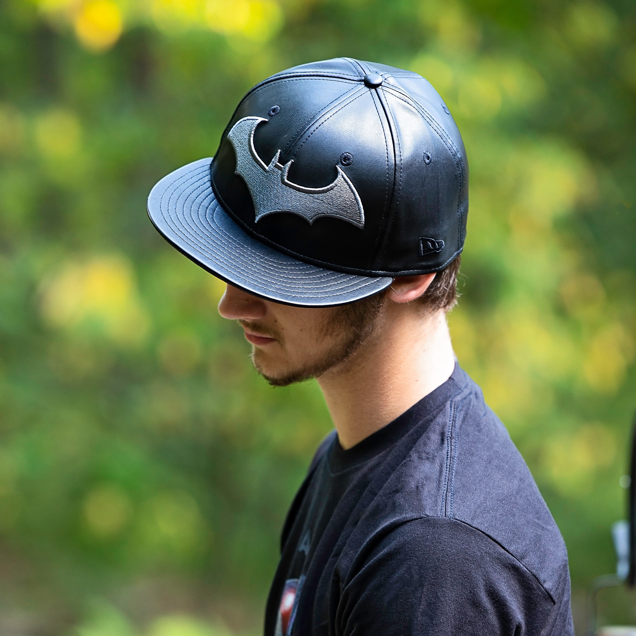 Batman Black Leather New Era 59Fifty Fitted Hat