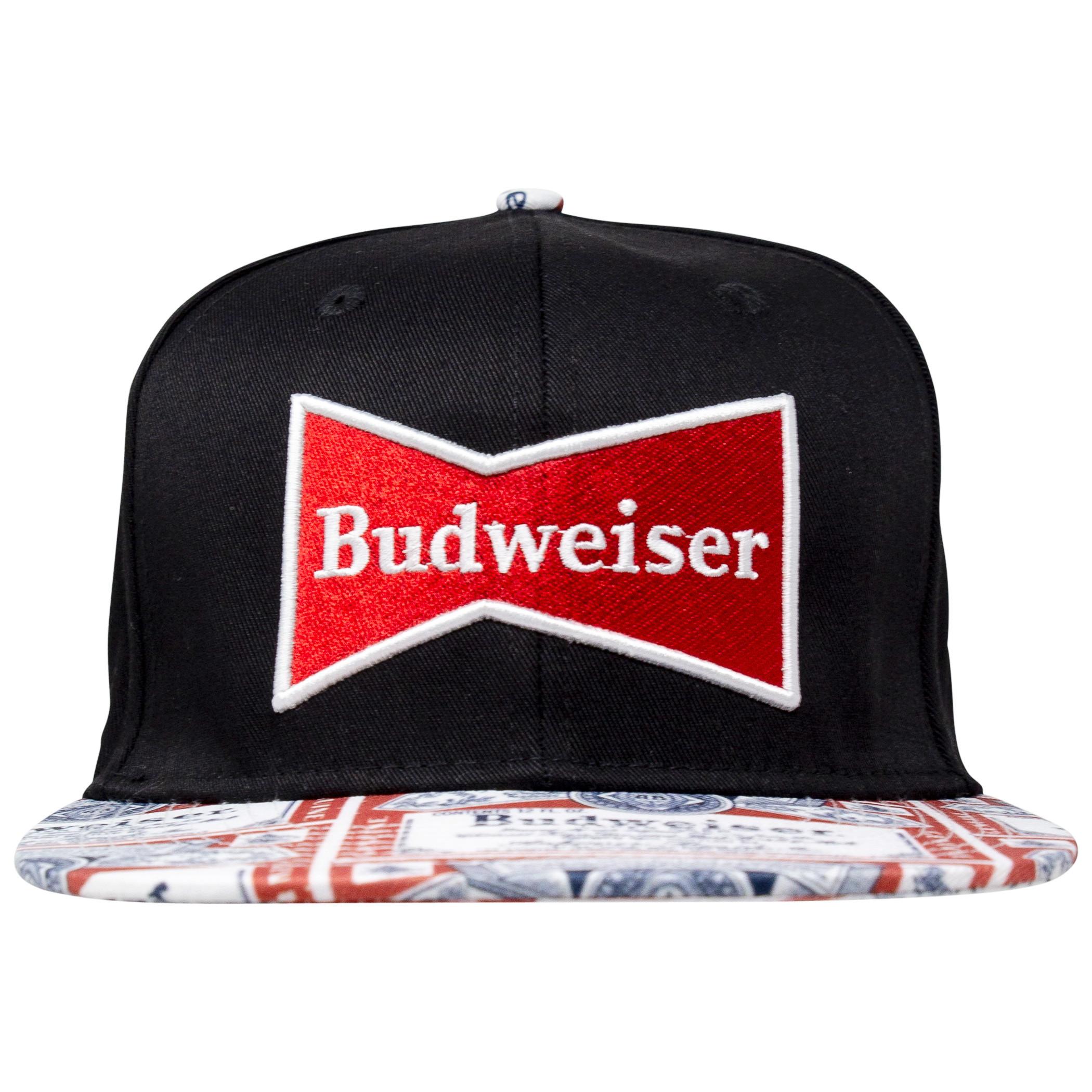 Budweiser Beer Label Brim Adjustable Snapback Hat