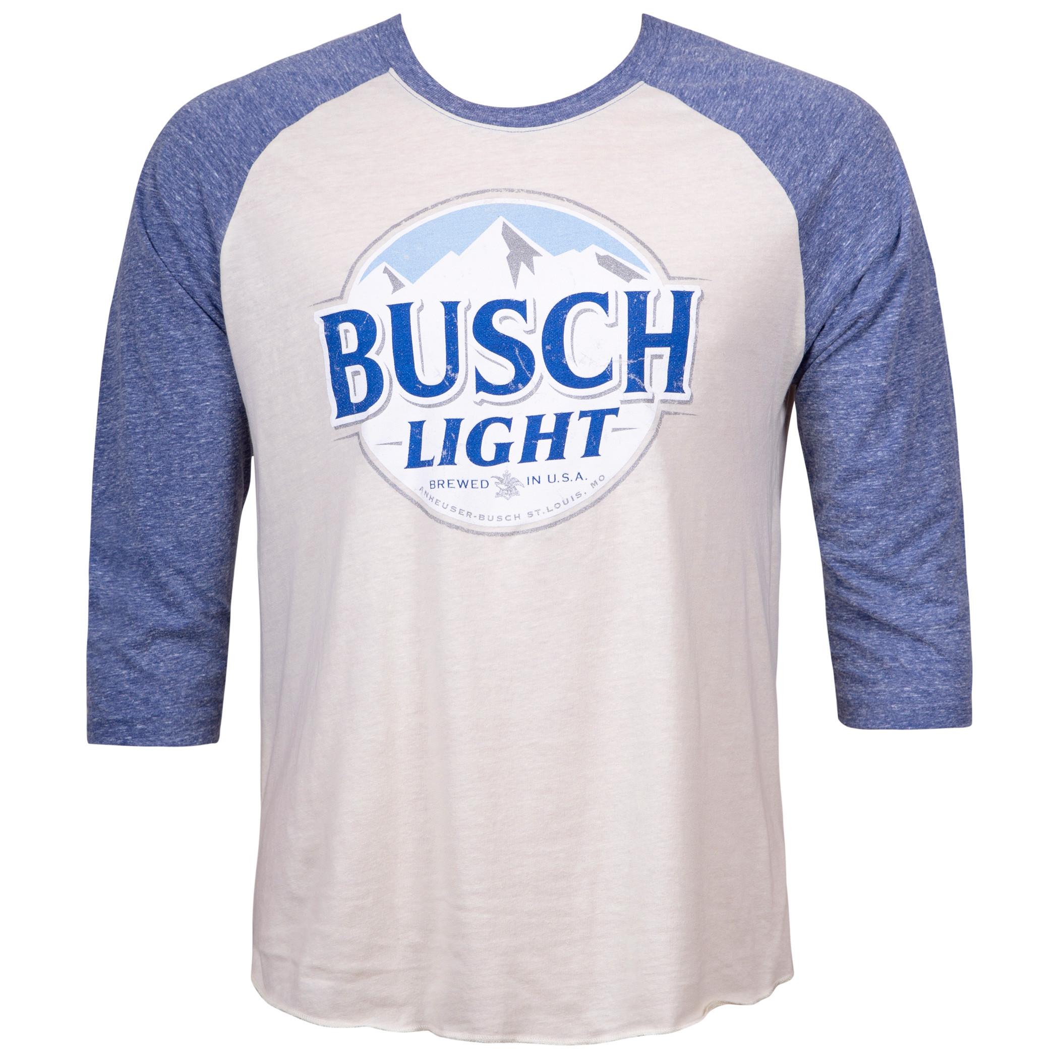 Busch Light Beer Blue And White Raglan Shirt