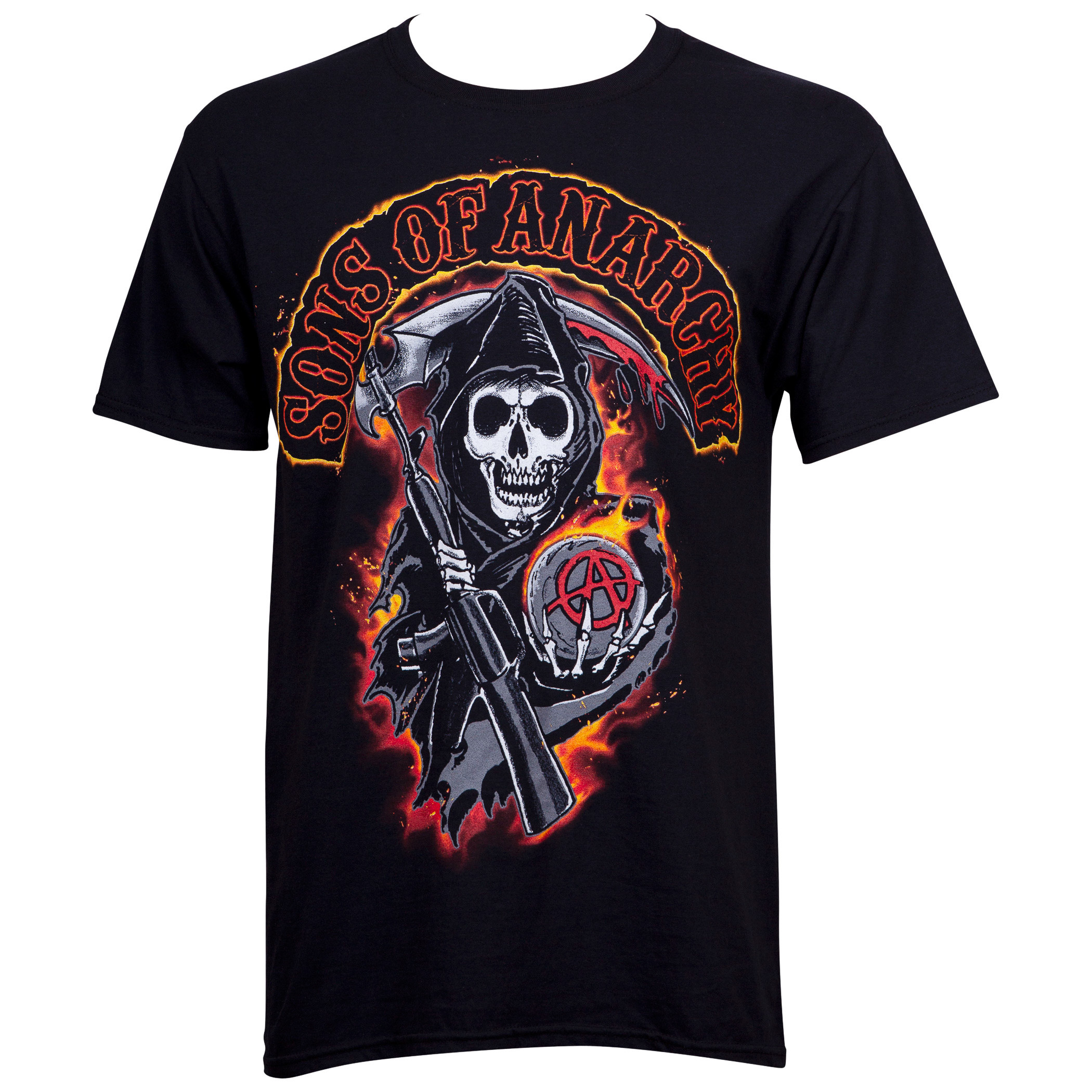 Sons of Anarchy Reaper in Flames Men's Black T-Shirt