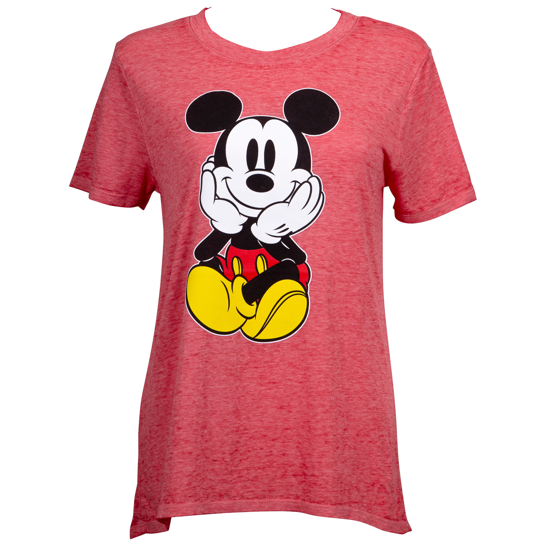 Mickey Mouse Front and Back Juniors Fitted Red T-Shirt