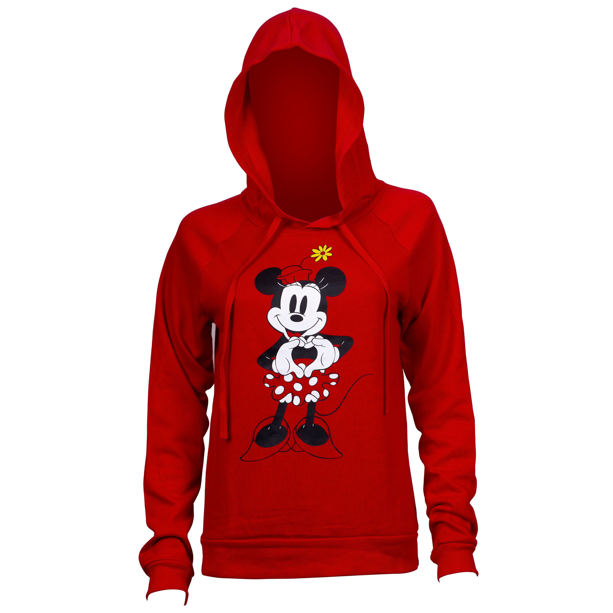 Minnie Mouse Heart Red Juniors Fitted Hoodie