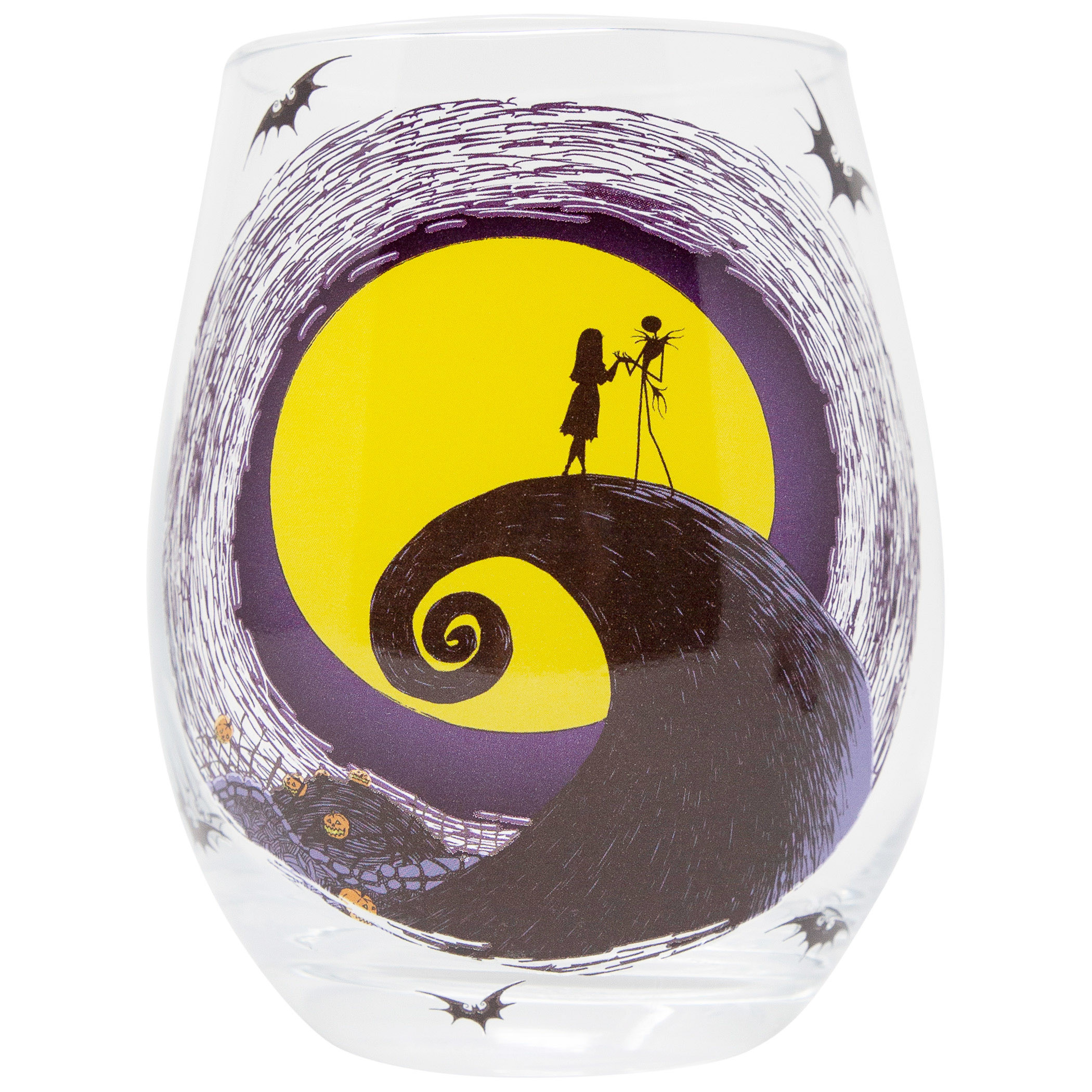 Nightmare Before Christmas Jack And Sally Moon Scene Stemless Glass