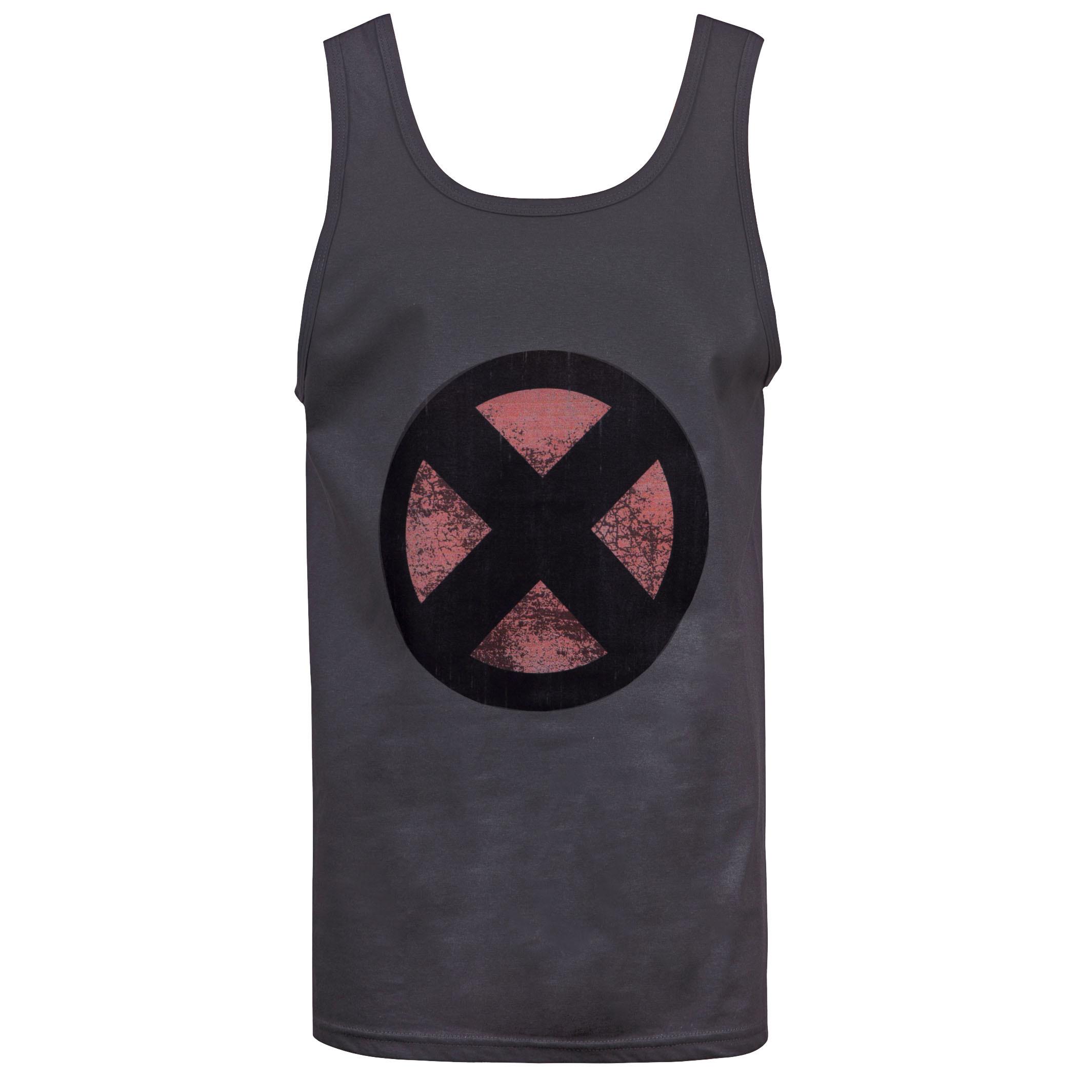 X-Men Distressed Symbol Men's Dark Grey Tank Top