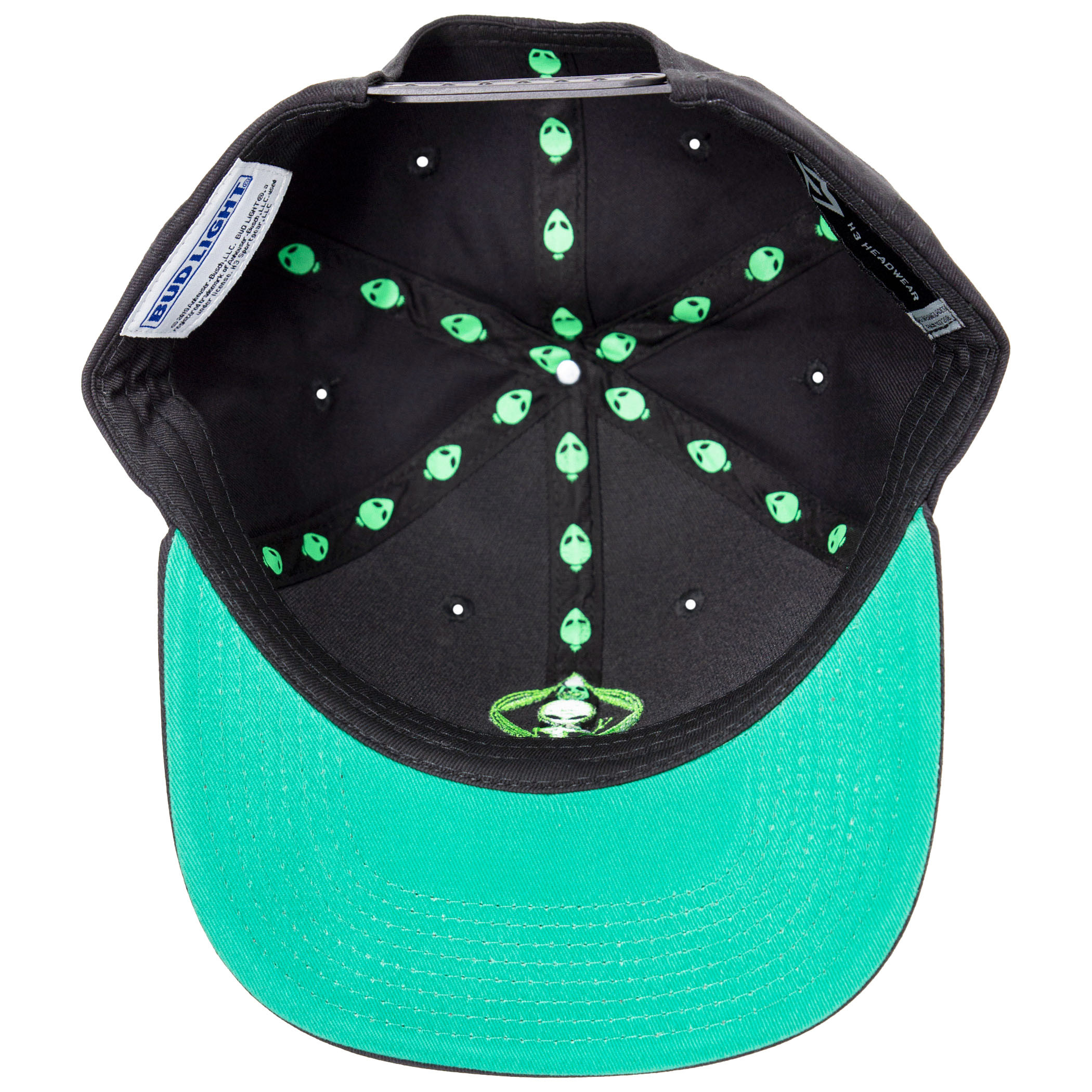 Bud Light Beer Alien Adjustable Black Snapback Hat