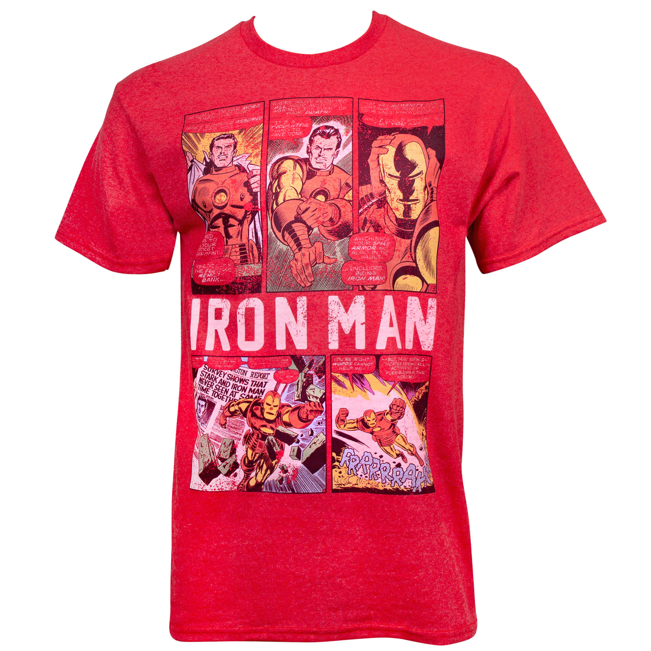 Iron Man Comic Panels Red T-Shirt