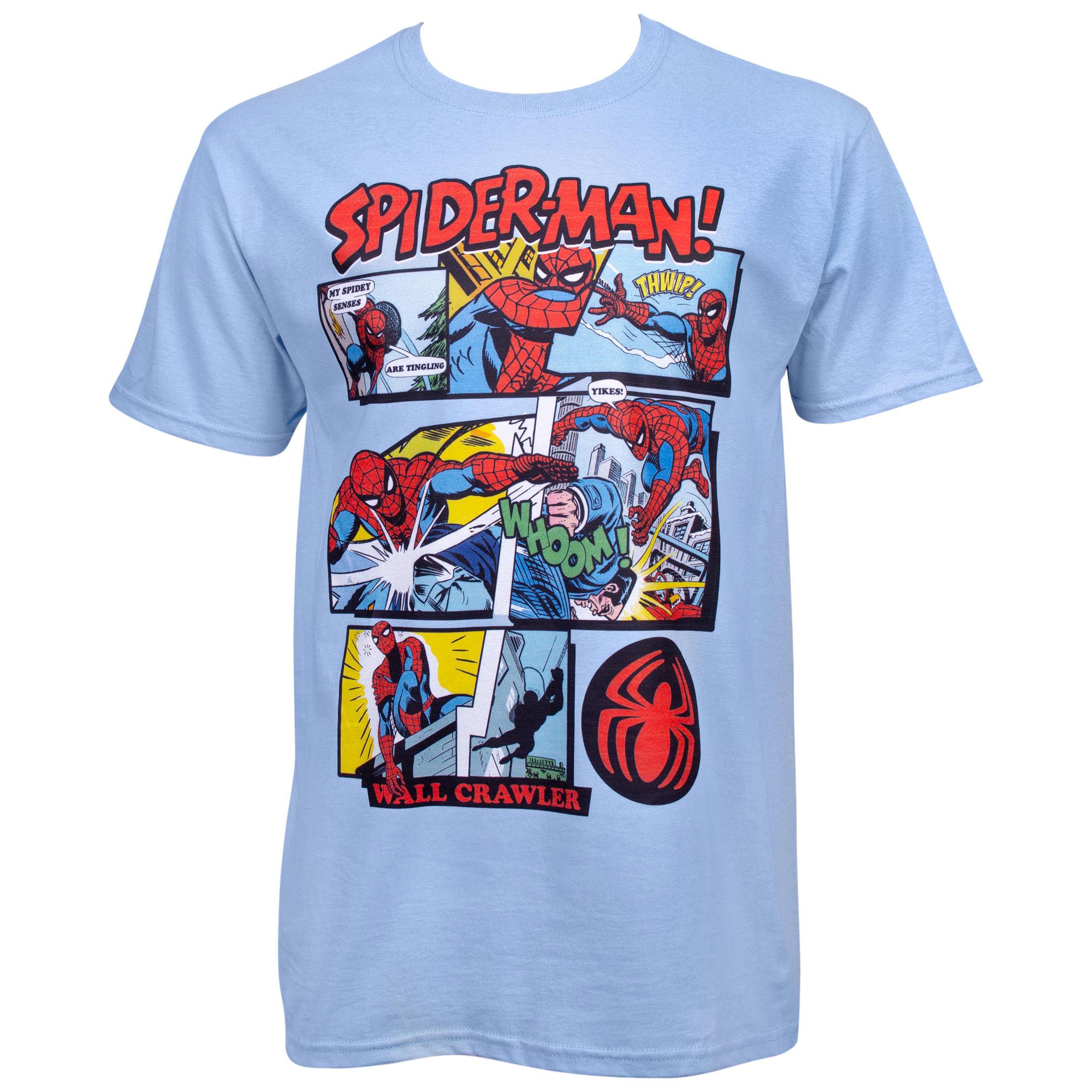 Spider-Man Comic Panels Blue T-Shirt