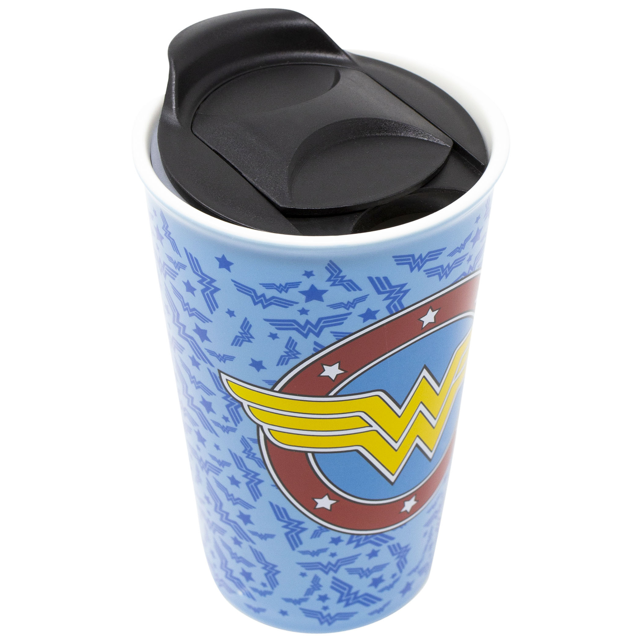 Wonder Woman Logo Tossed 16oz Ceramic Travel Mug