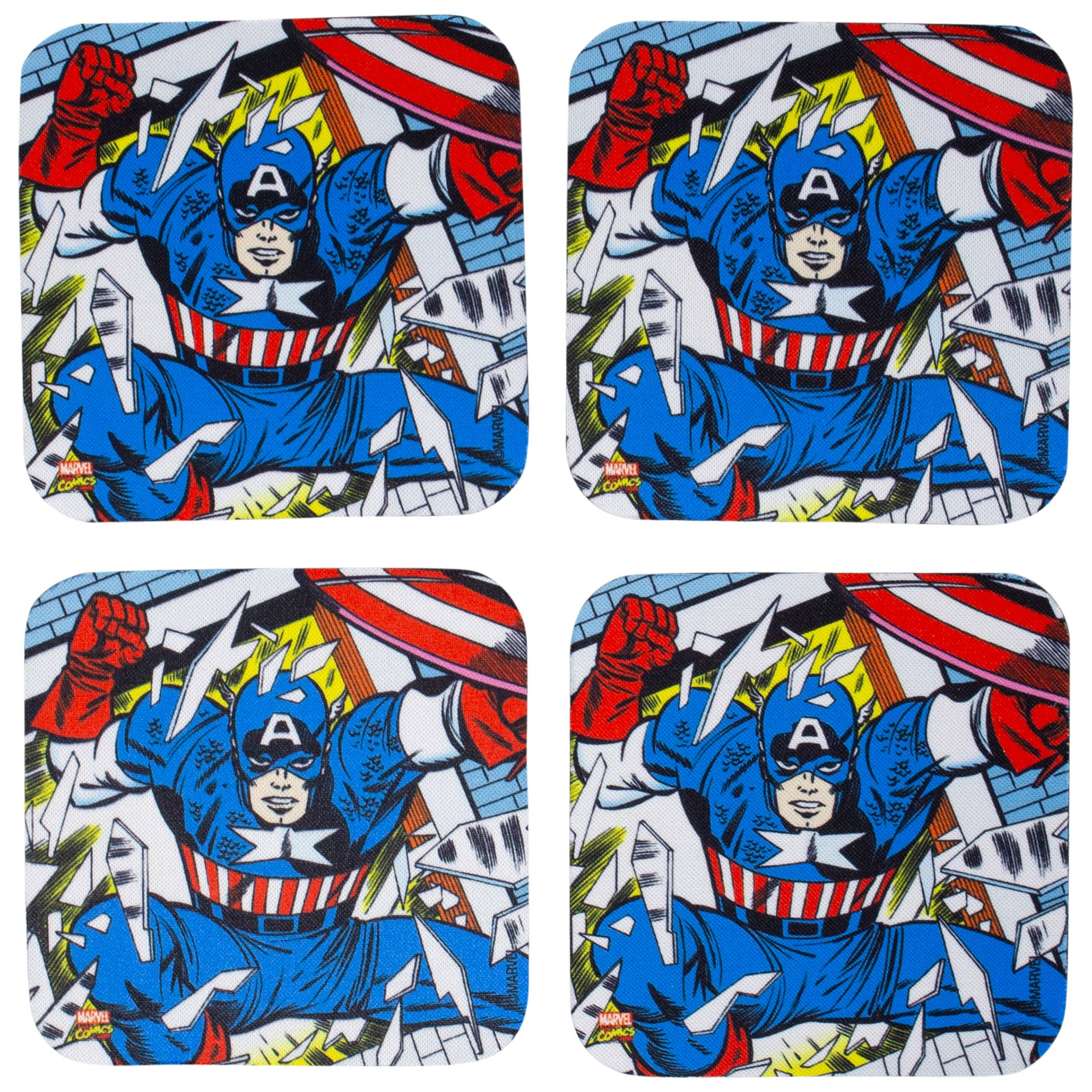 Marvel Captain America 4-Piece Neoprene Coaster Set