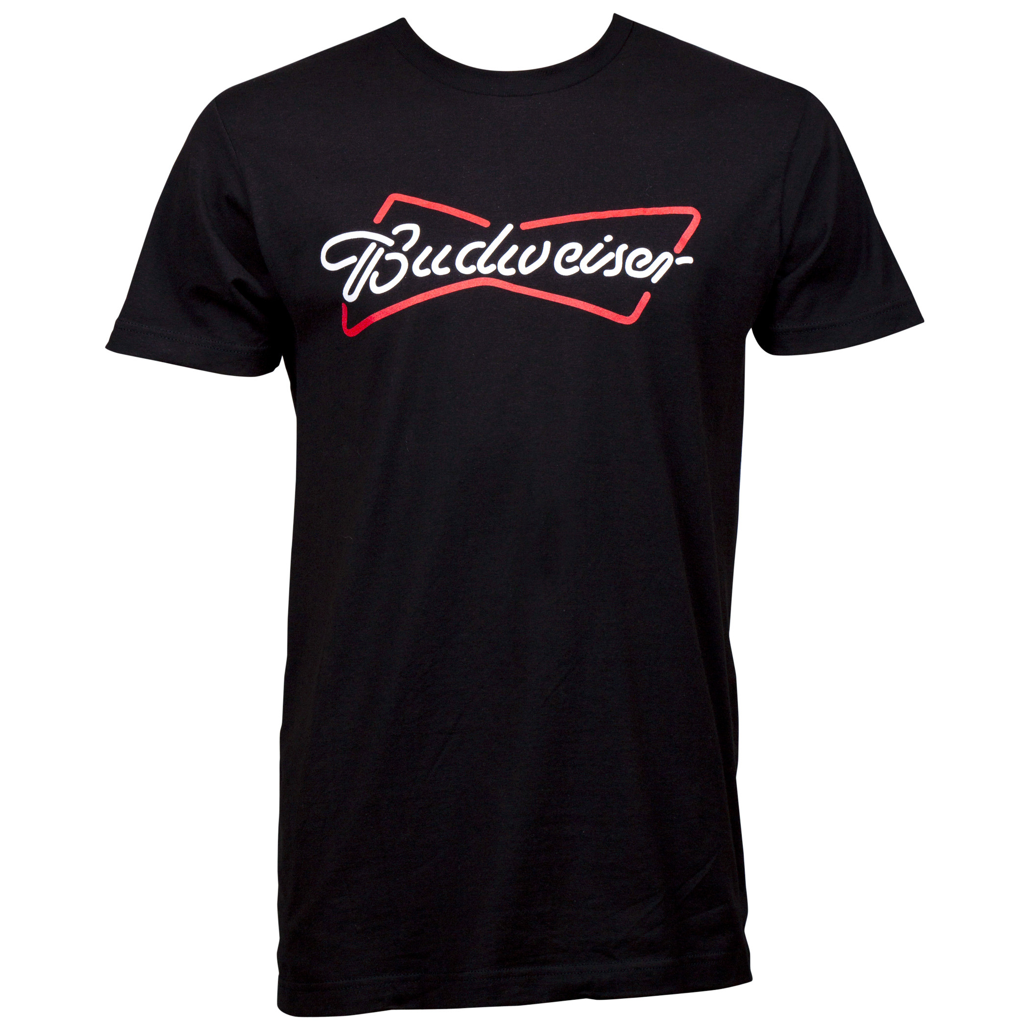 Budweiser Bowtie Neon Sign Logo Black T-Shirt