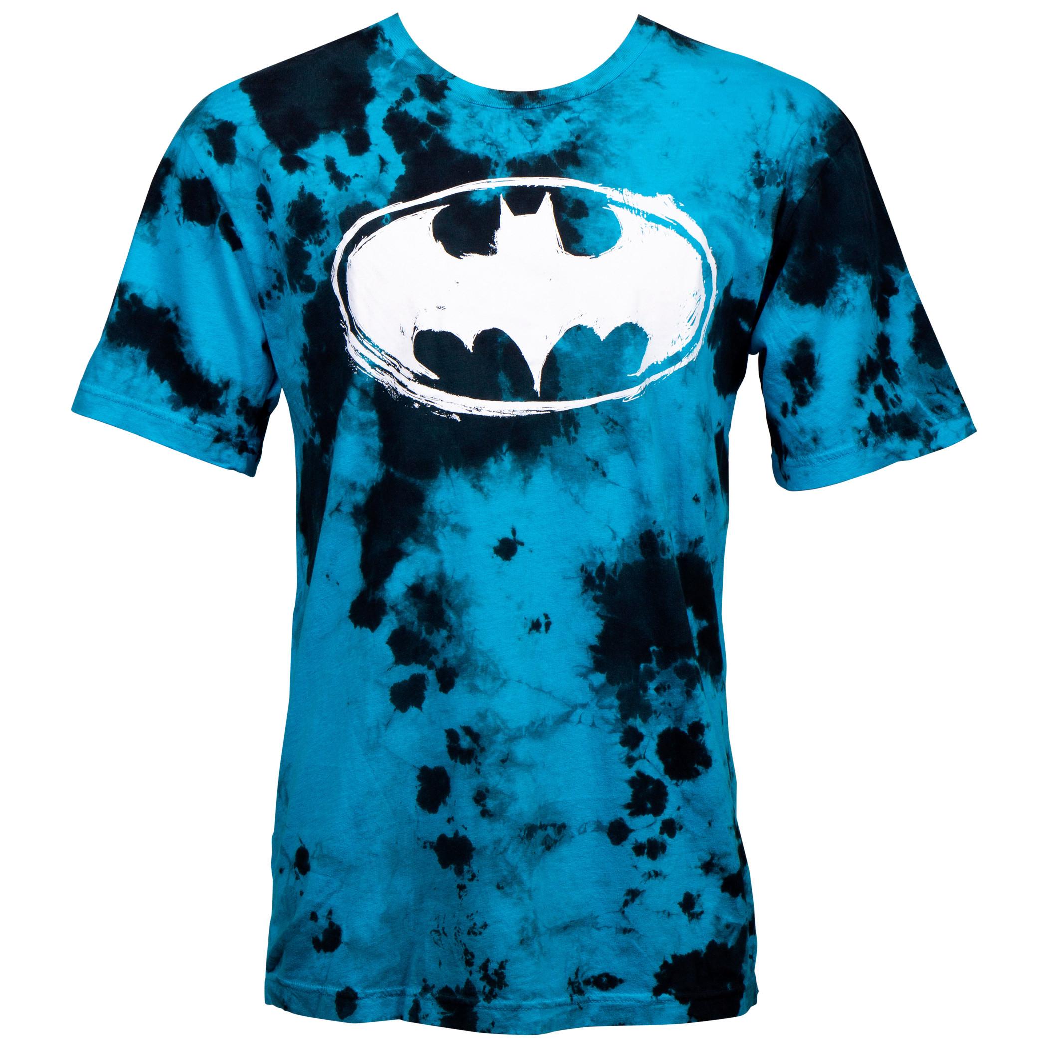 Batman Turquoise Cloud Blotch Dye T-Shirt