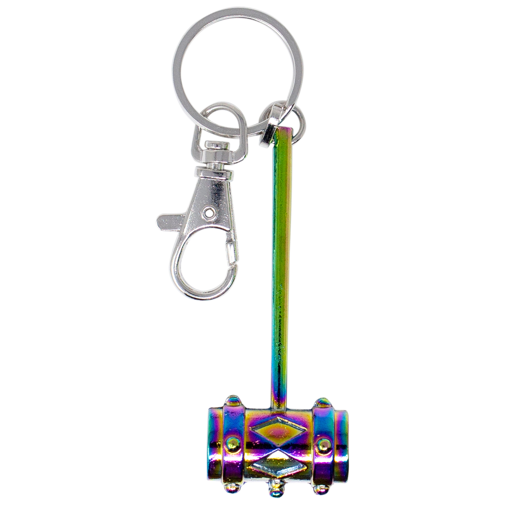 Harley Quinn's Mallet Keychain with Rainbow Metallic Finish