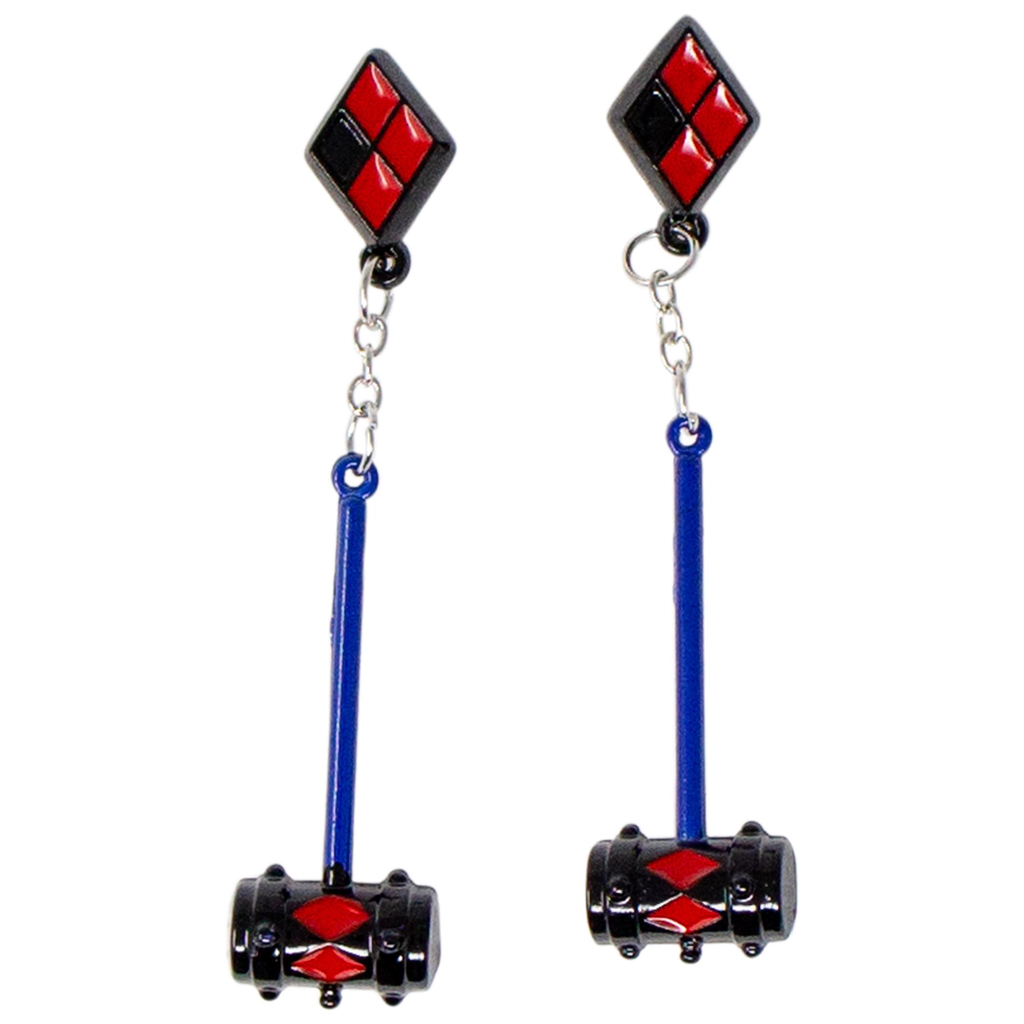 Harley Quinn Mallet Dangle Earrings