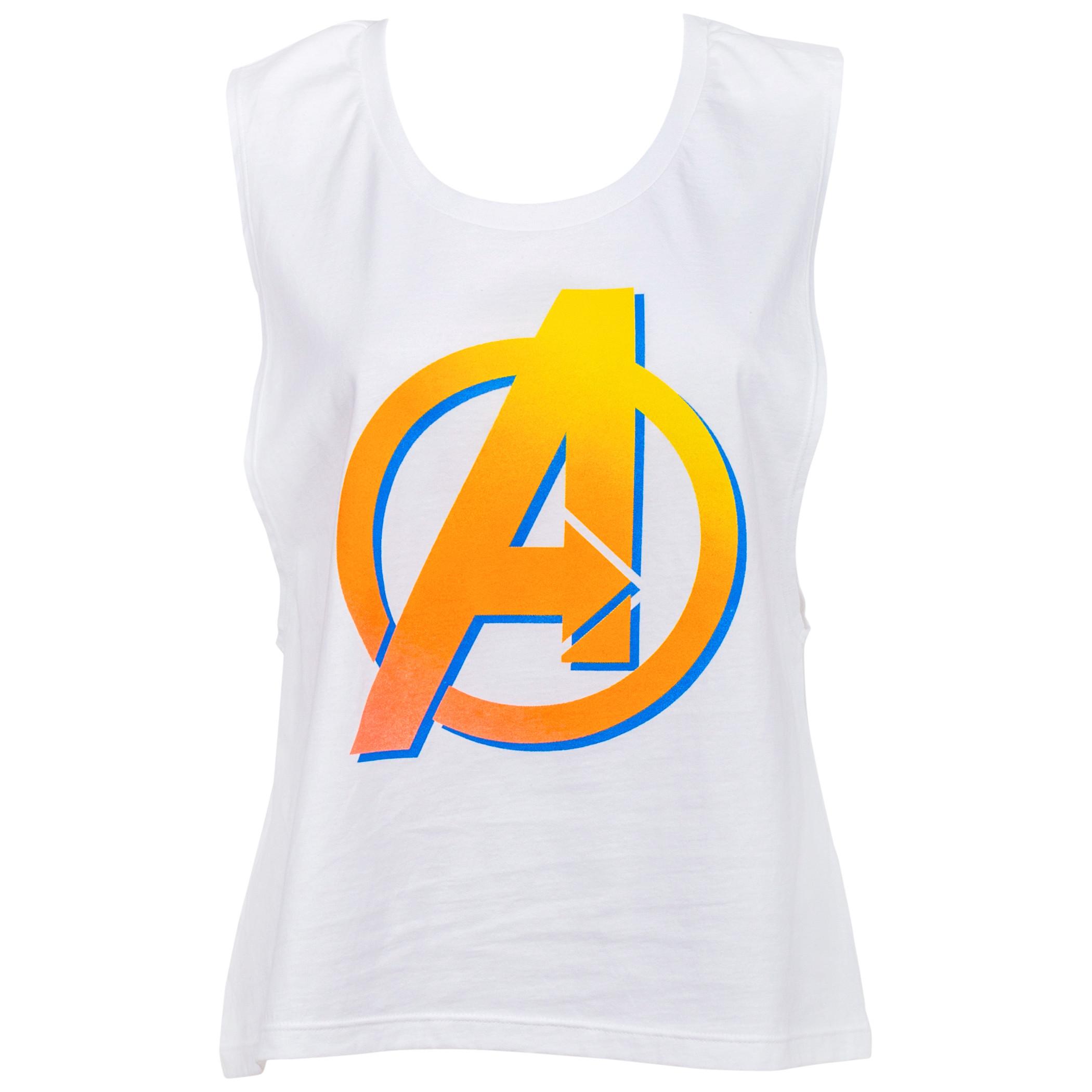 Avengers Orange Symbol Juniors Tank Top