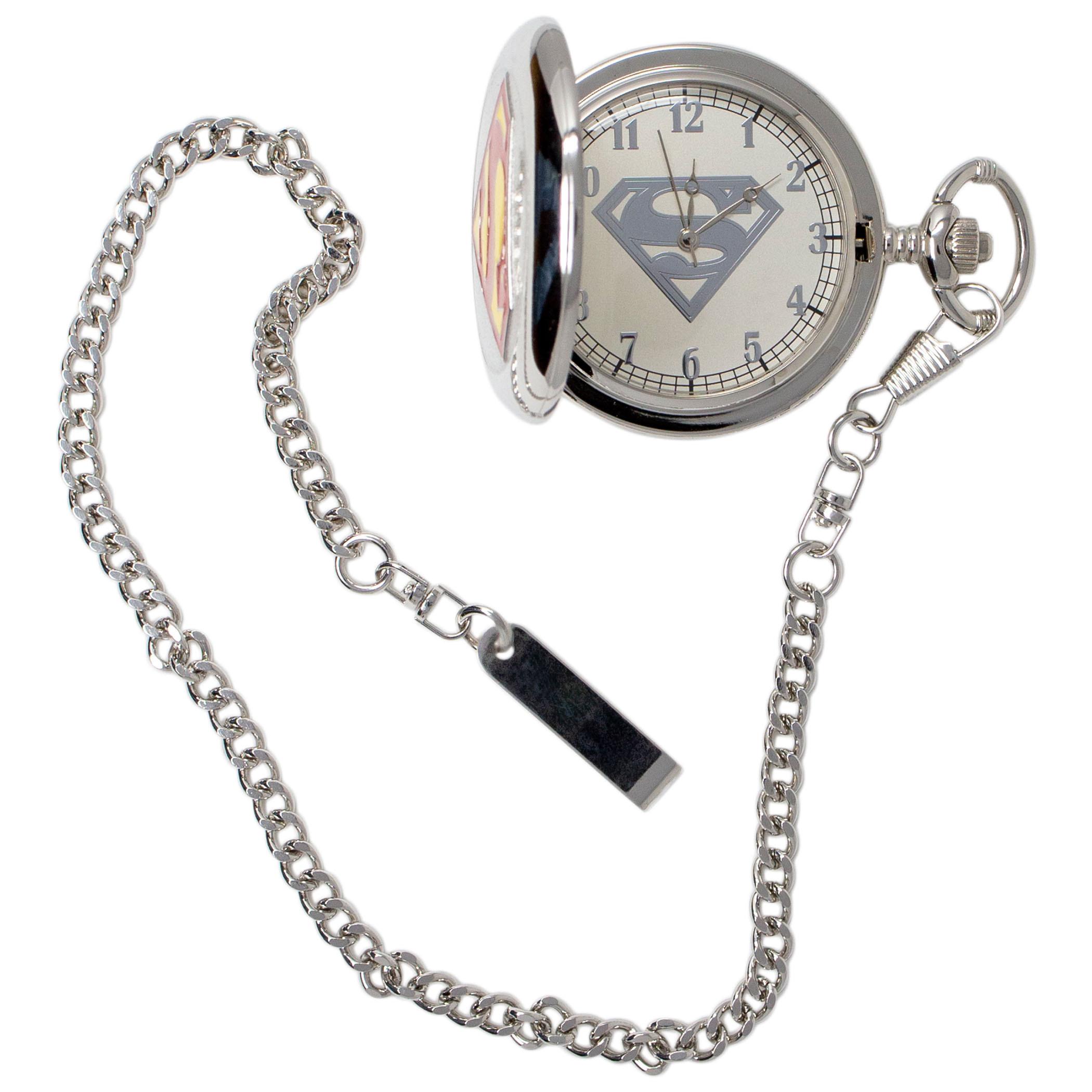 Superman Symbol Silver Pocket Watch