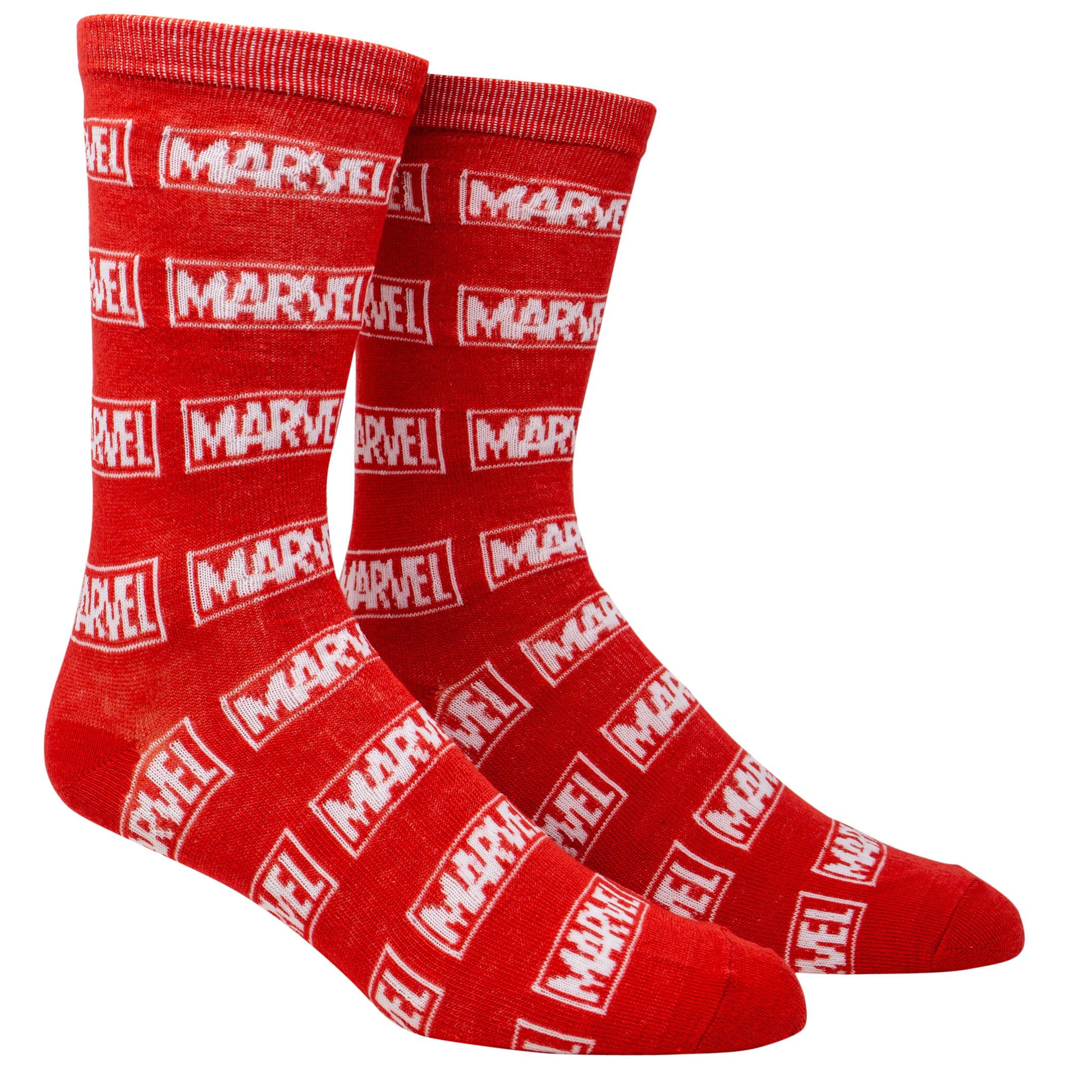 Marvel Brand Logo All Over Crew Socks