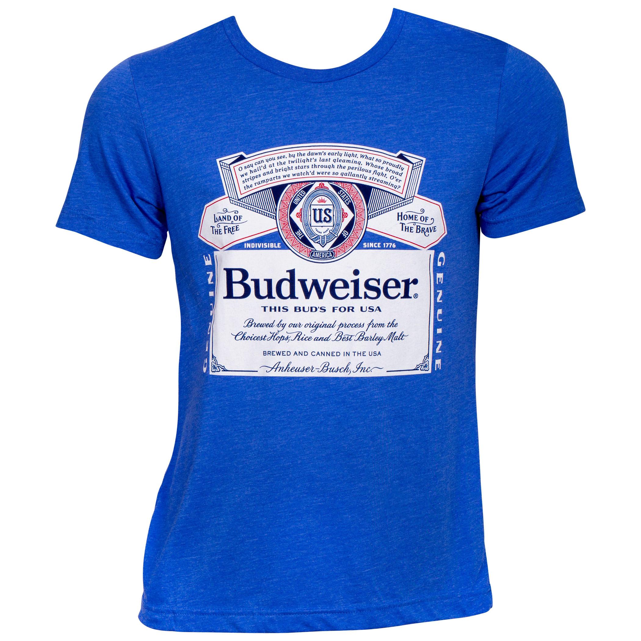 Budweiser Beer Patriotic Label Blue T-Shirt