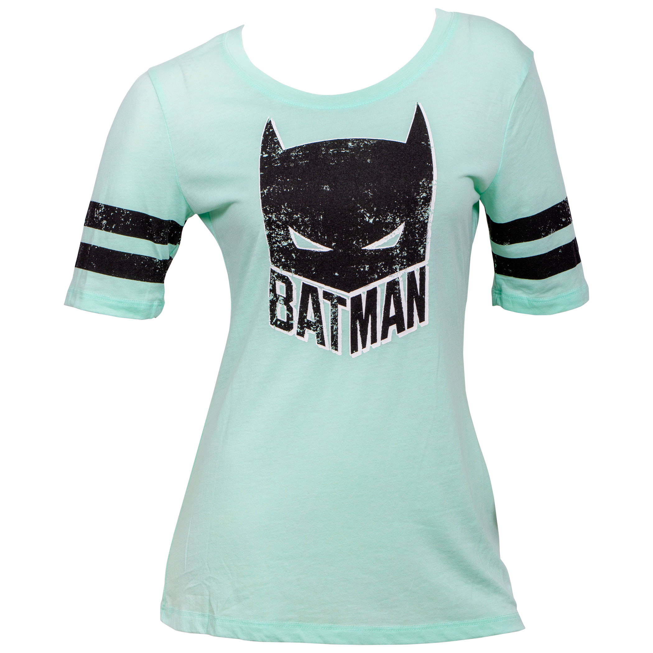 Batman Mask Striped Sleeves Women's T-Shirt