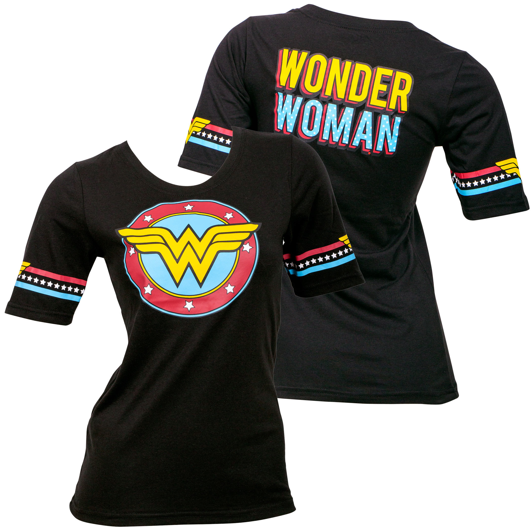 Wonder Woman Star Crest Front and Back Print Women's T-Shirt